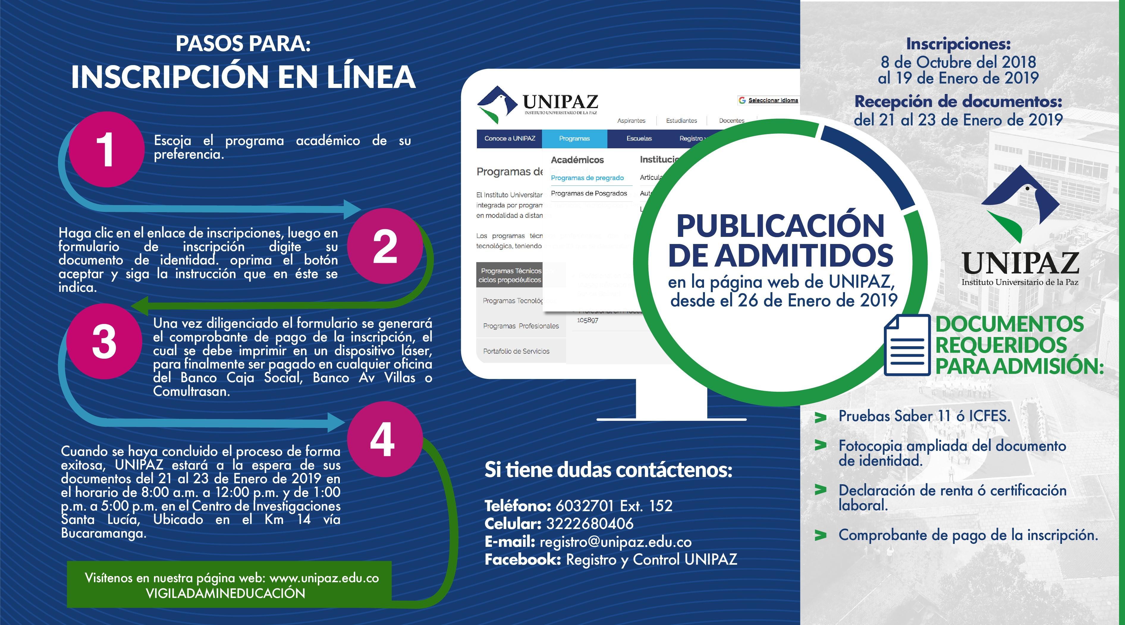 A través del siguiente enlace puede descargar recibo de pago de inscripci³n o matrcula