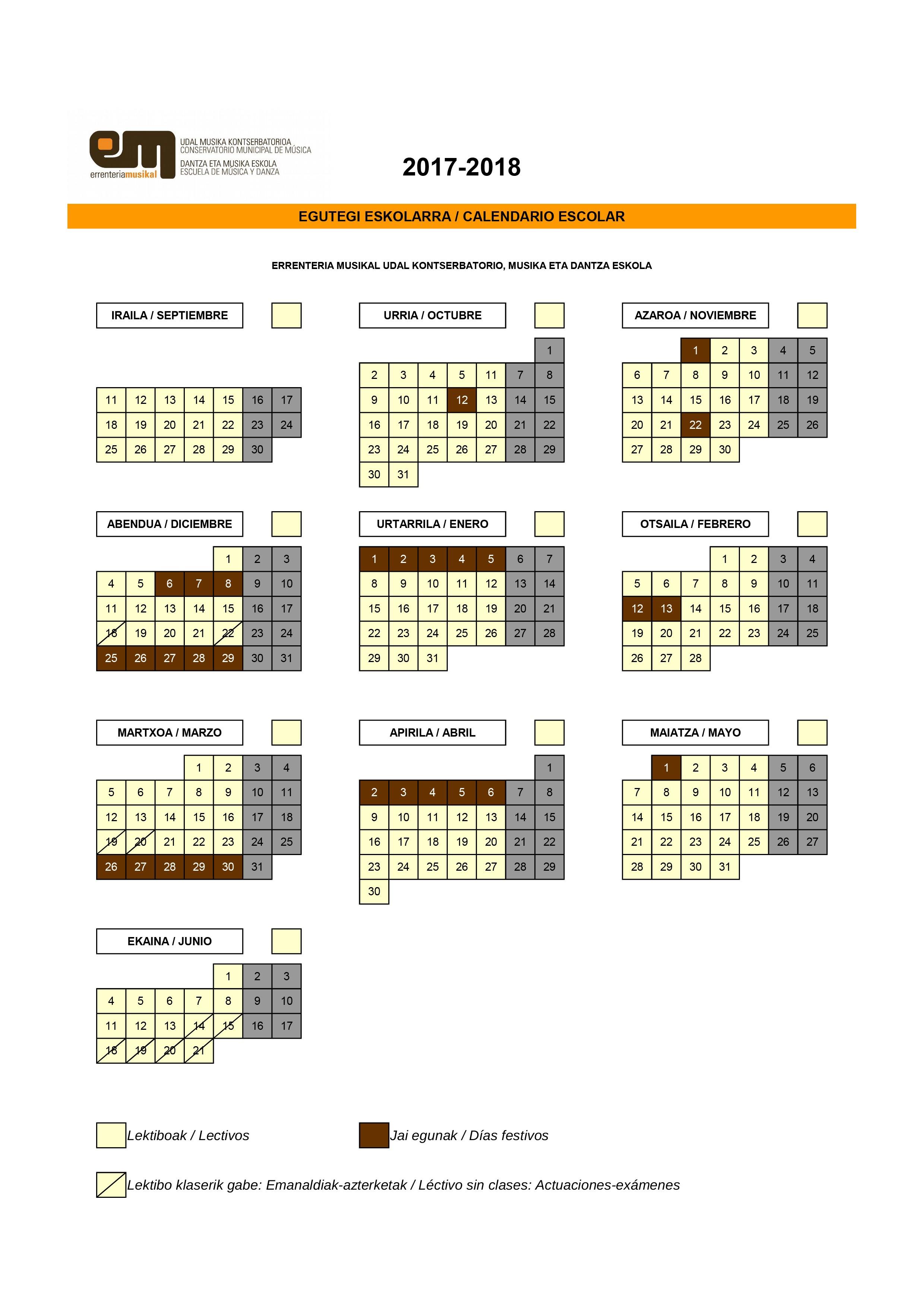Calendario escolar del curso 17 18