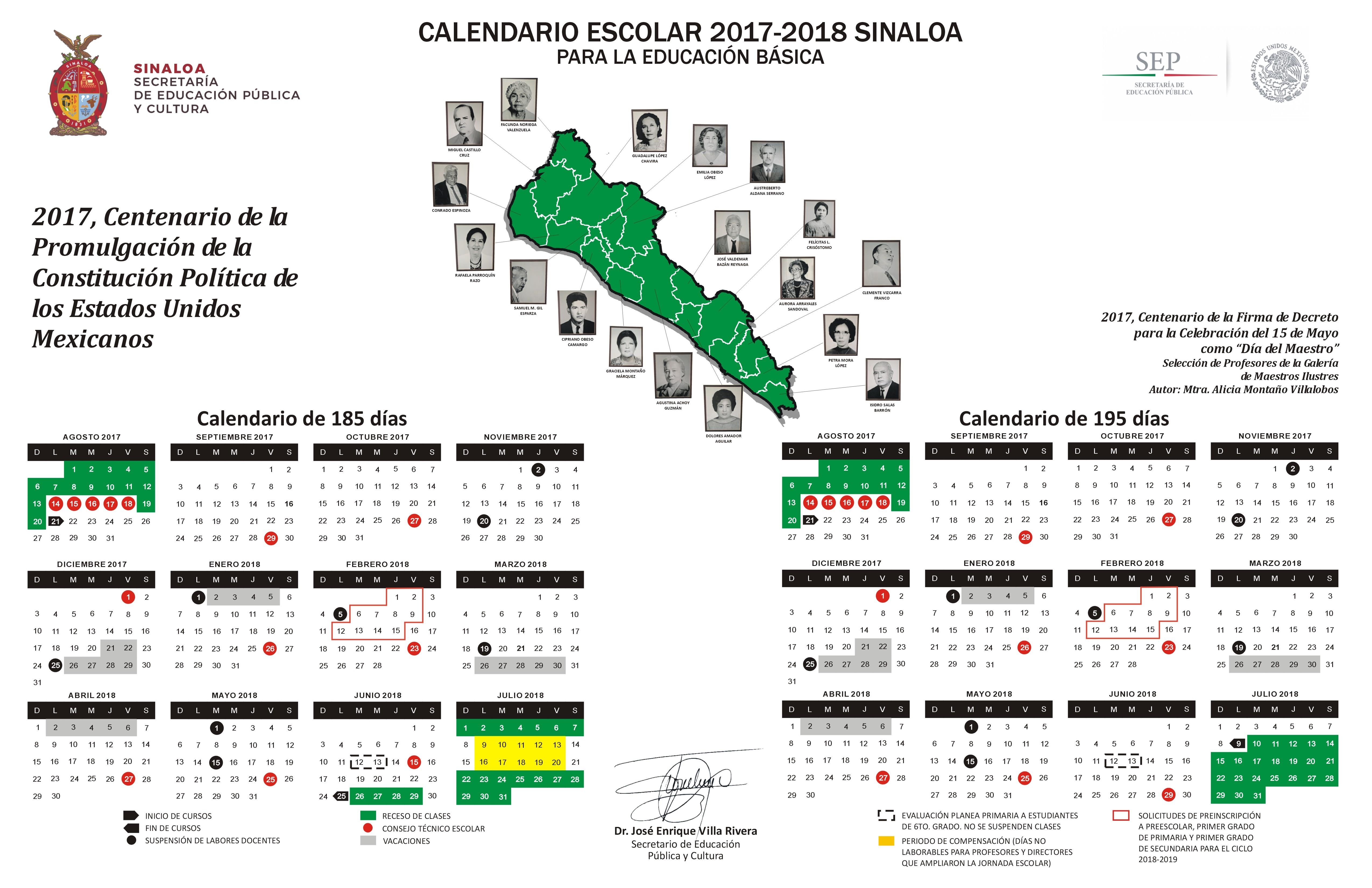 El calendario escolar 2017 – 2018 de 185 y de 195 das para la Educaci³n Básica