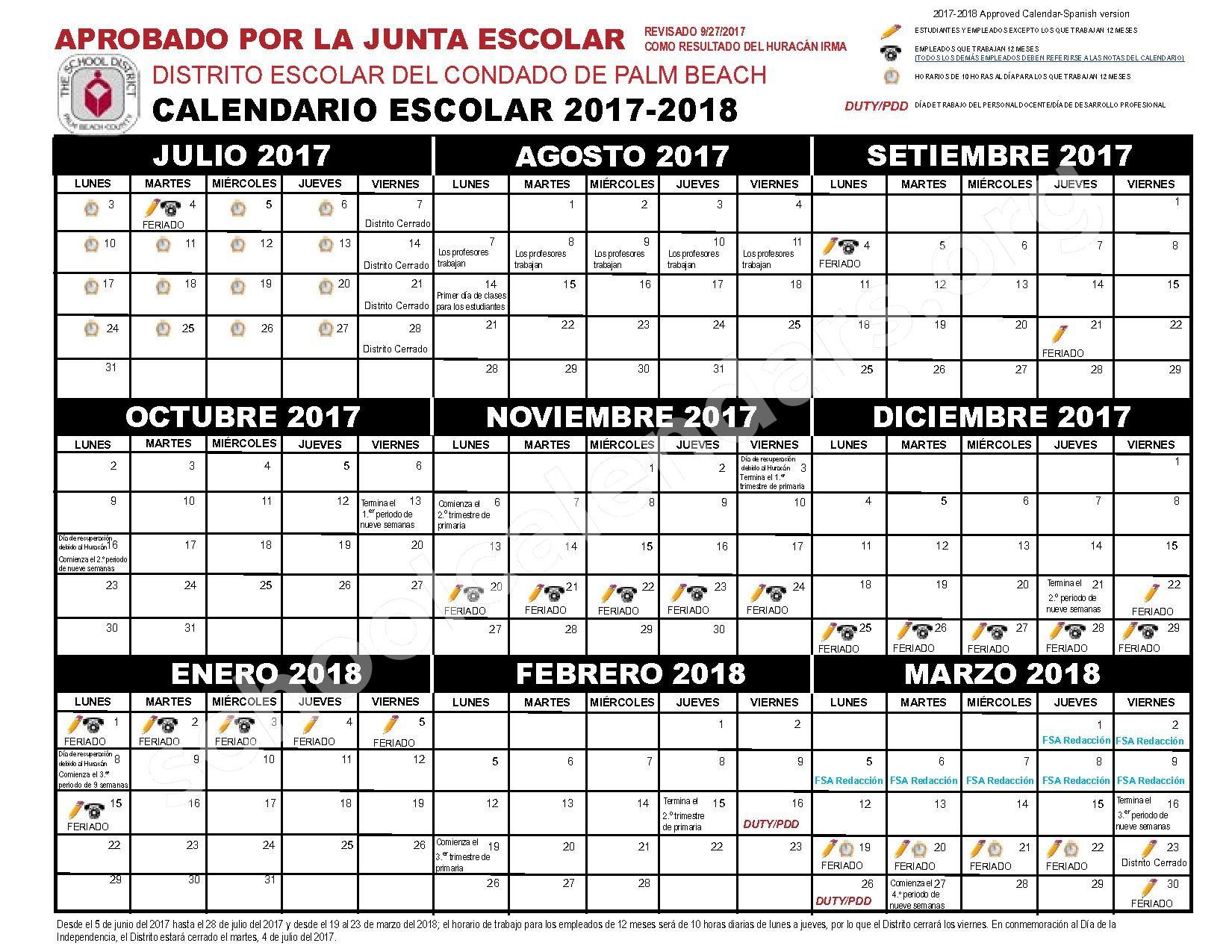 Calendario Escolar 2019 Florida Recientes 2017 2018 Calendario Escolar