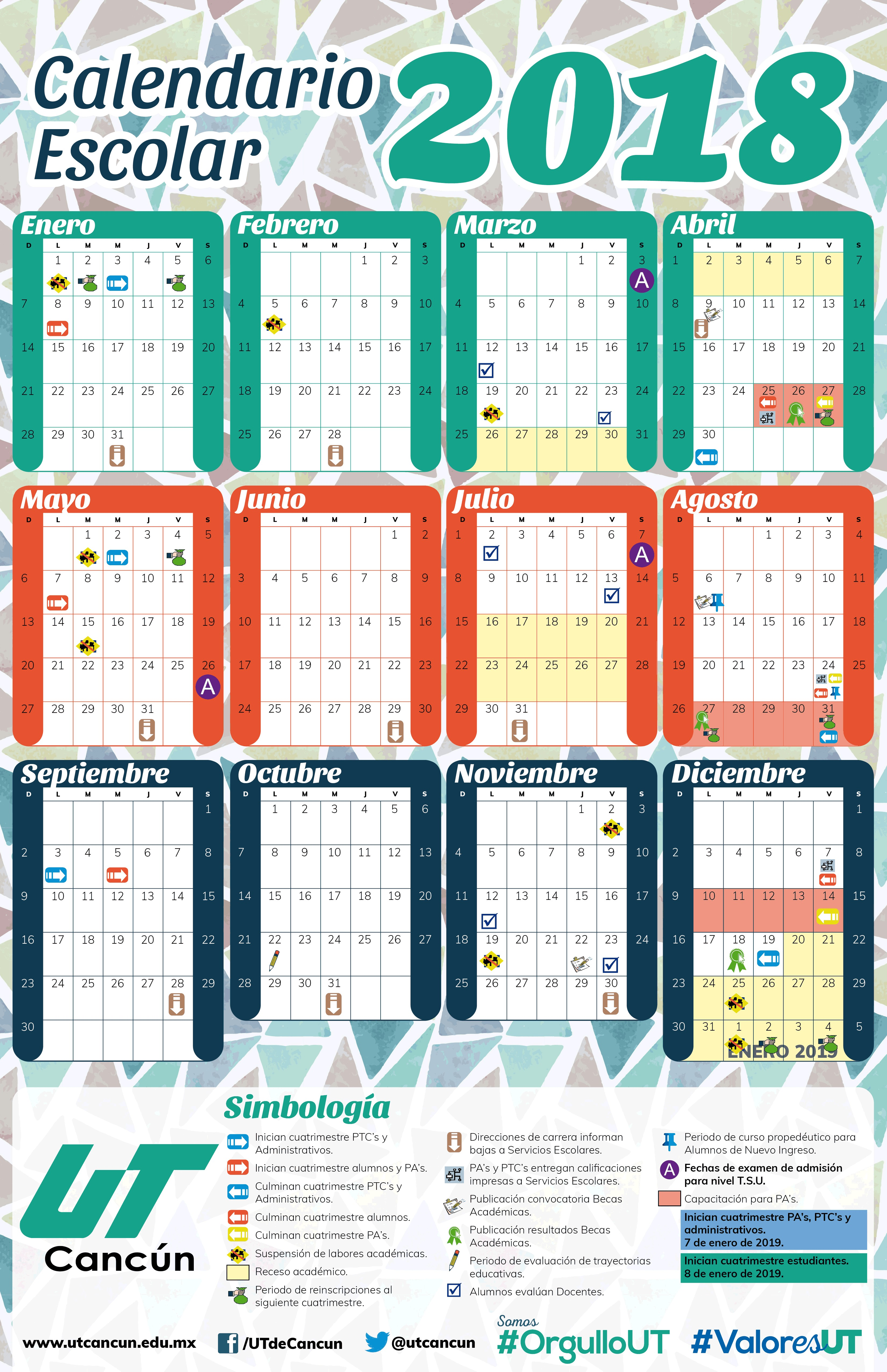 Calendario Escolar 2019 Imprimir Más Reciente Ut Cancºn Of Calendario Escolar 2019 Imprimir Más Reciente Calendario Para Imprimir 2018 2019