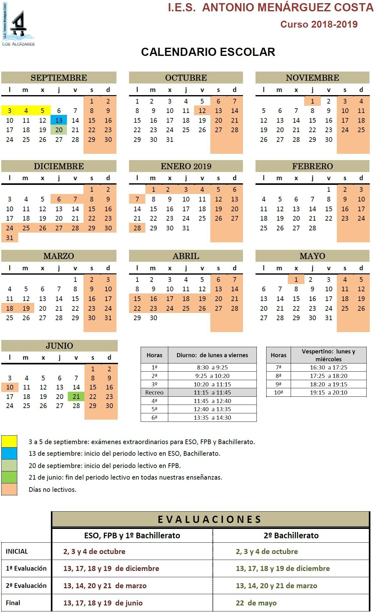 Calendario Escolar 2019 Jaen Más Arriba-a-fecha I E S Antonio Menrguez Costa Of Calendario Escolar 2019 Jaen Más Recientemente Liberado Horarios Del Curso 2018 2019 – I E S Fuente De La Pe±a