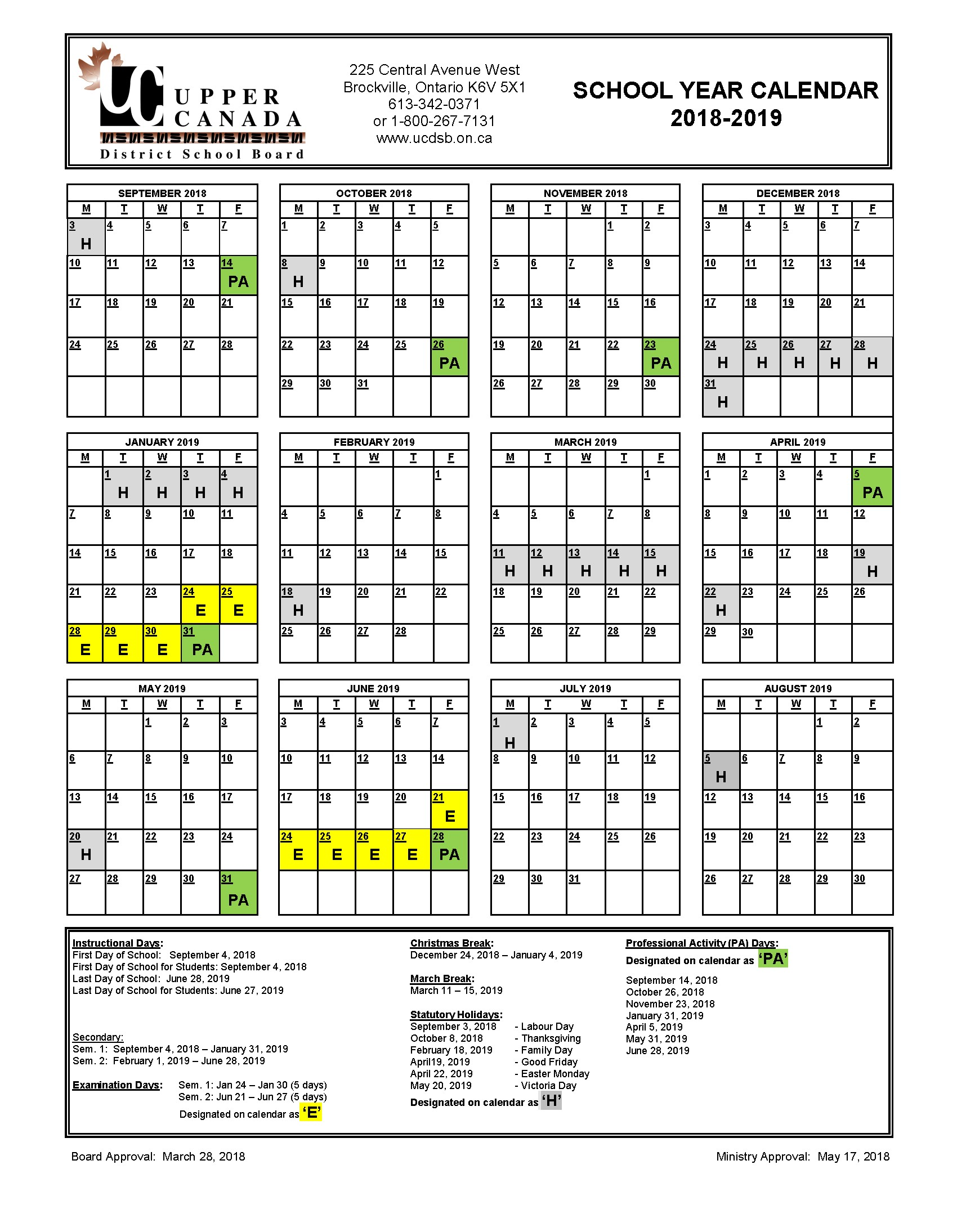Calendario Escolar 2019 Kinder Más Reciente 2018 2019 School Year Calendar Upper Canada District School Board Of Calendario Escolar 2019 Kinder Más Reciente 2018 2019 School Year Calendar Upper Canada District School Board