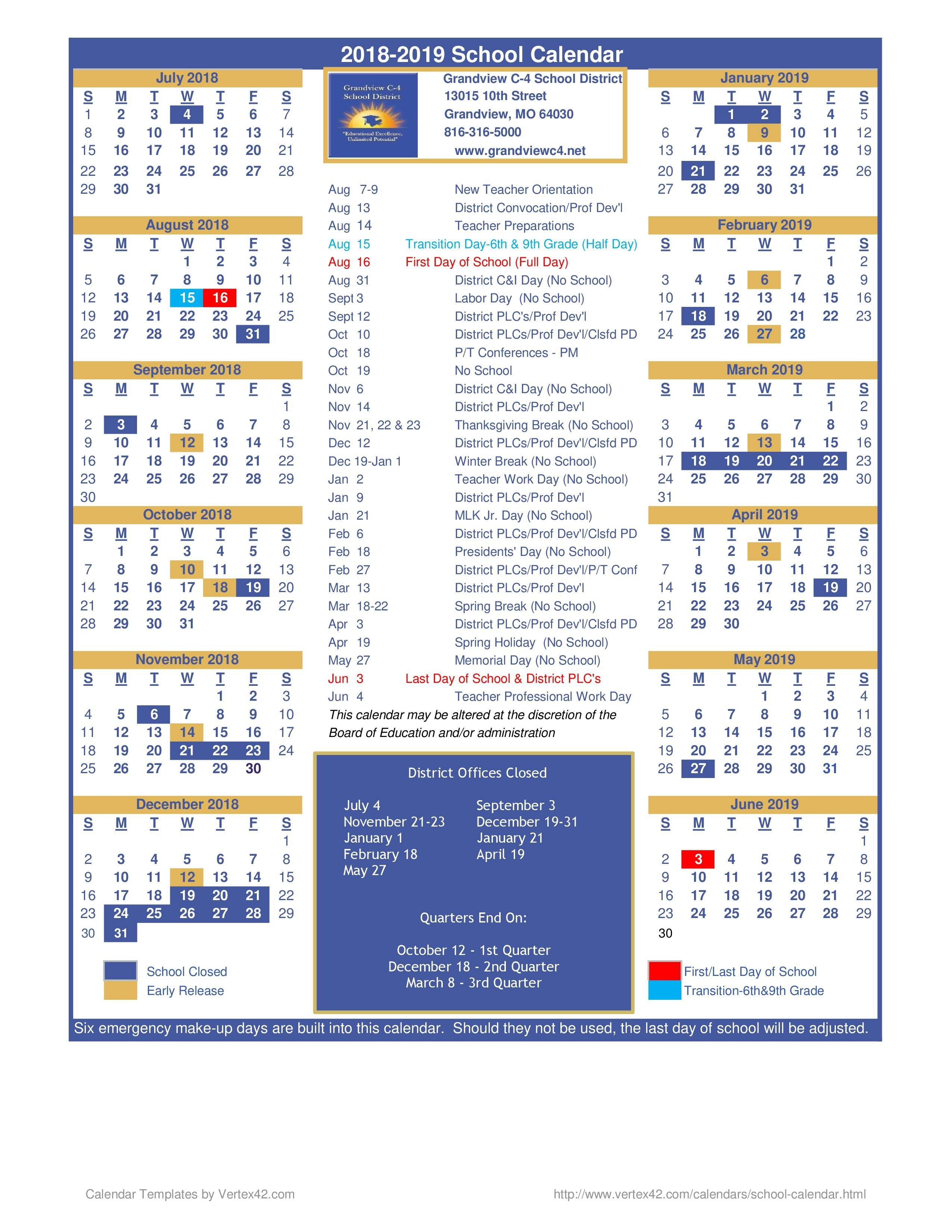 Calendario Escolar 2019 Kinder Más Recientes District Calendar – District Calendar – Grandview C 4 School District Of Calendario Escolar 2019 Kinder Más Reciente 2018 2019 School Year Calendar Upper Canada District School Board