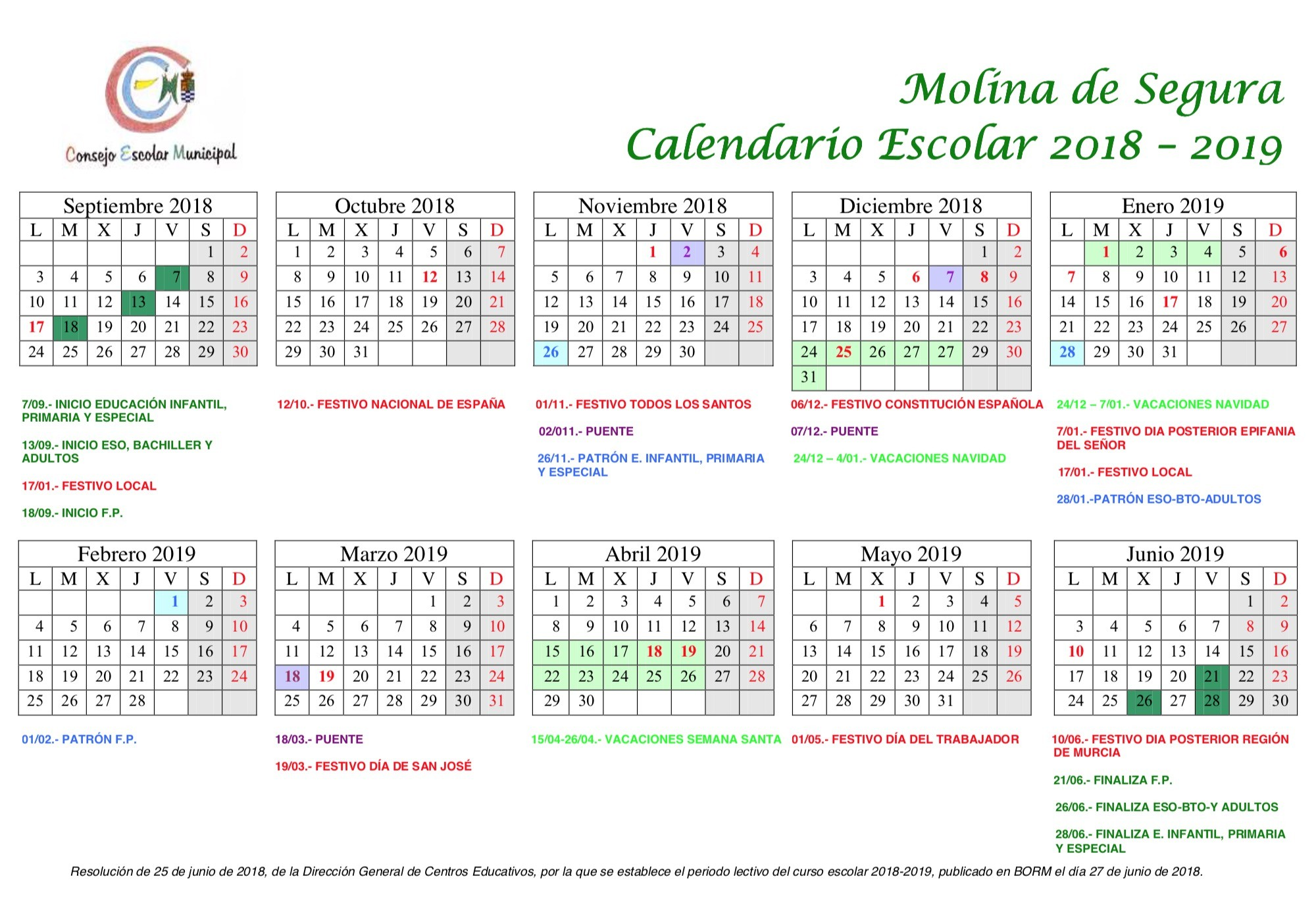 Calendario Escolar 2019 Lorca Más Recientes C I F E A De Molina De Segura Of Calendario Escolar 2019 Lorca Más Actual C E I P Pasico Campillo