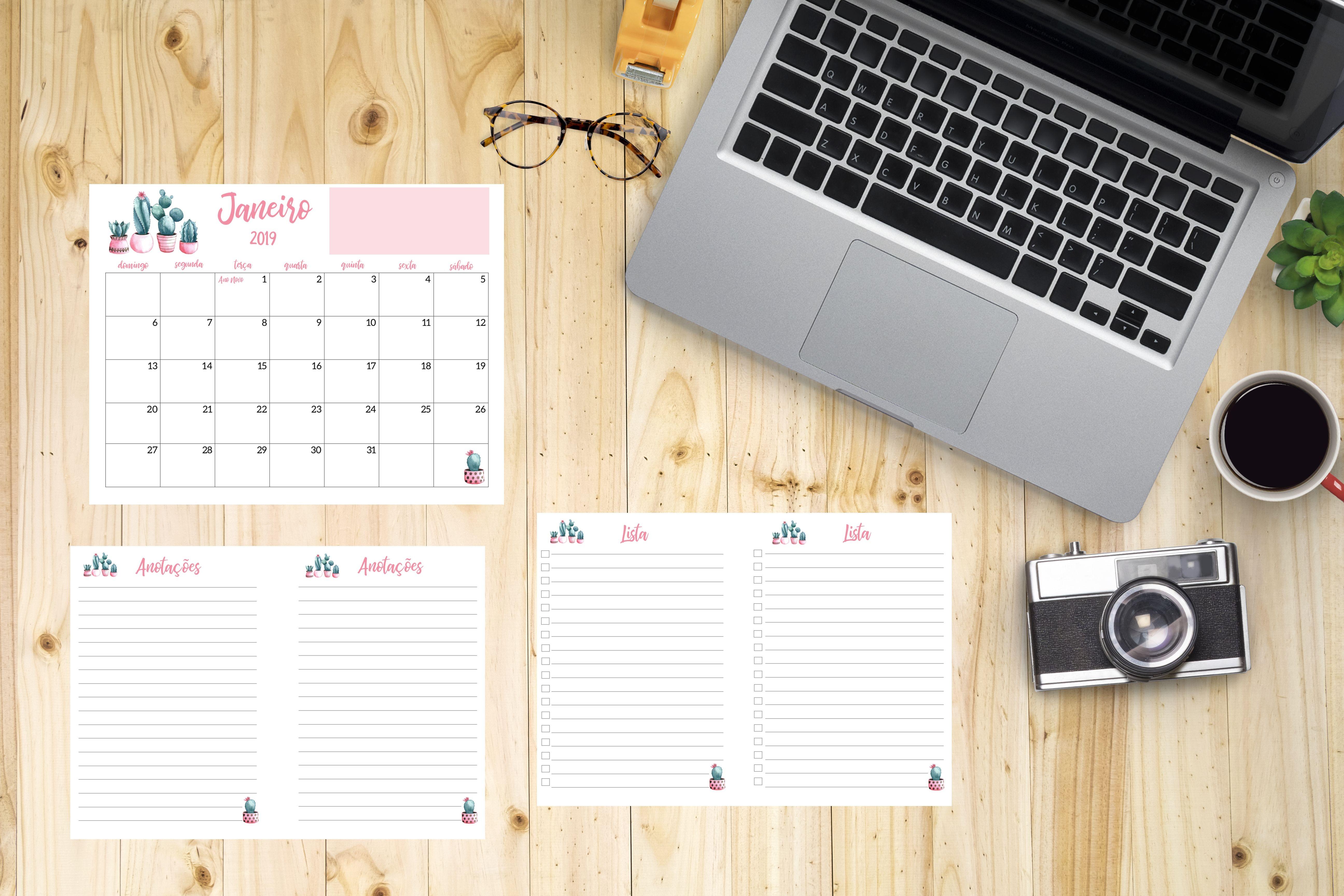 Calendário 2019 Cactos Rosa Pdf Feriados Nacionais datas emorativas organiza§£o o ºltimo trimestre de