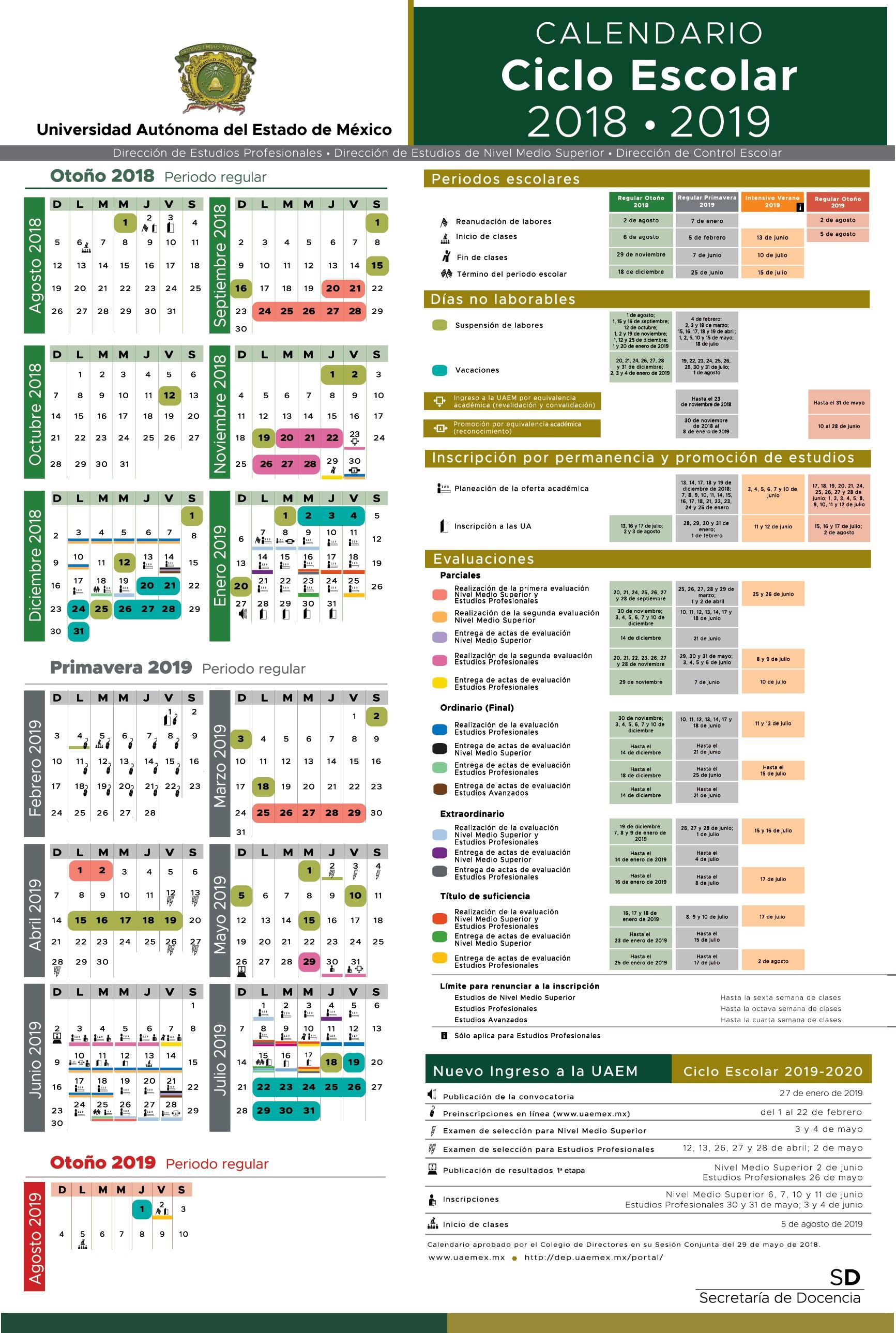 Calendario Escolar UAEMex 2018 2019 Aqu