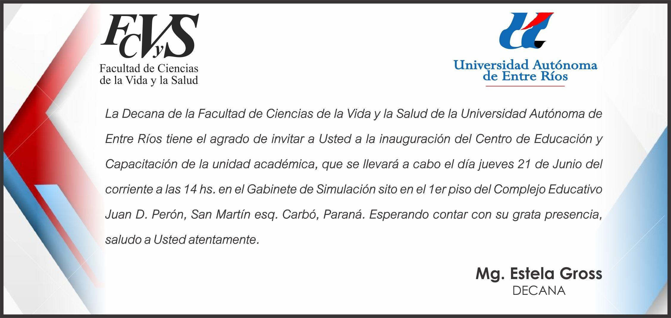 Acto de inauguraci³n del Centro de Educaci³n y Capacitaci³n de la Facultad de Ciencias de la