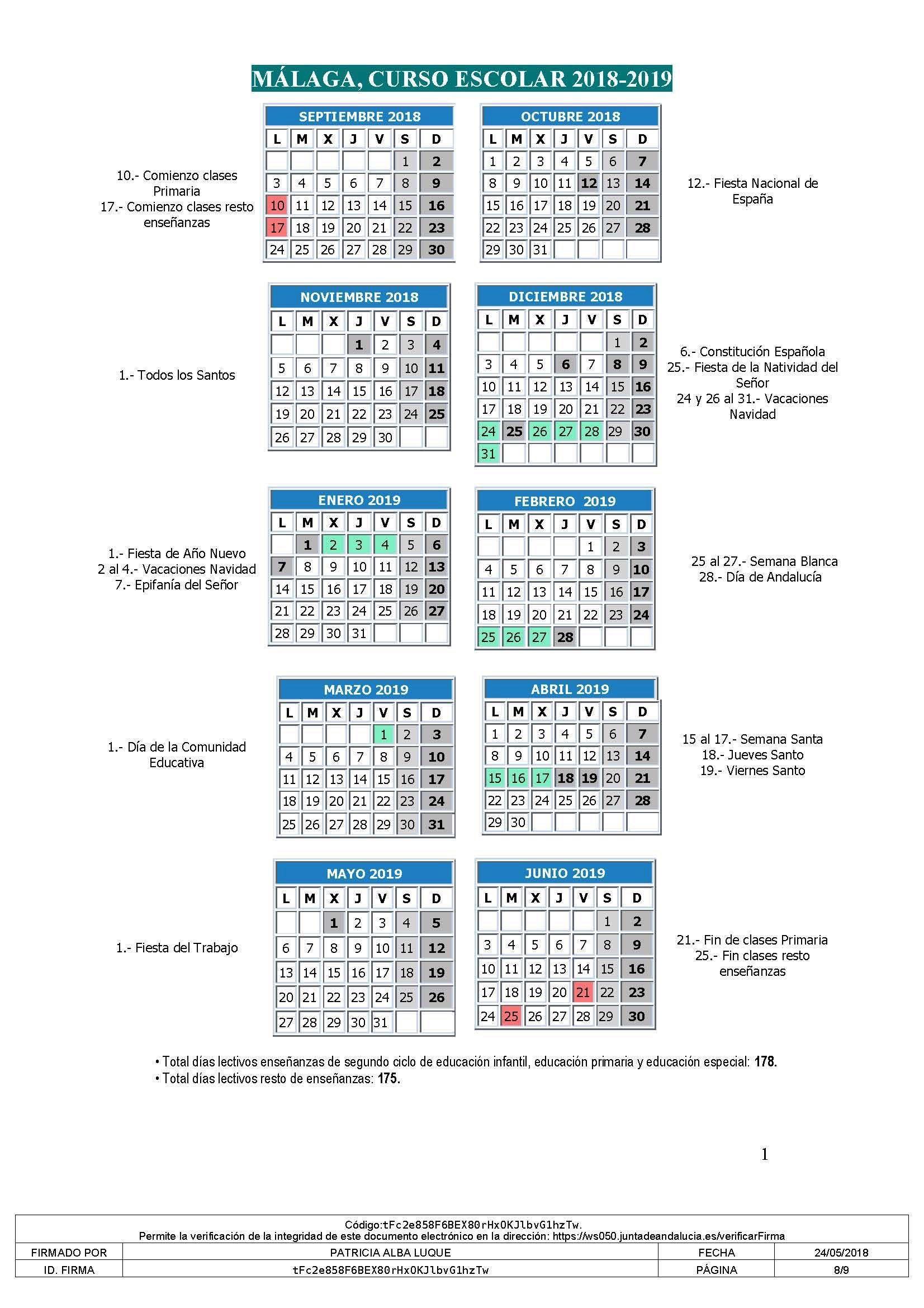 el 30 de junio de 2019 se dedicará a la evaluaci³n del alumnado y a la realizaci³n de las actividades relacionadas con la finalizaci³n del curso escolar