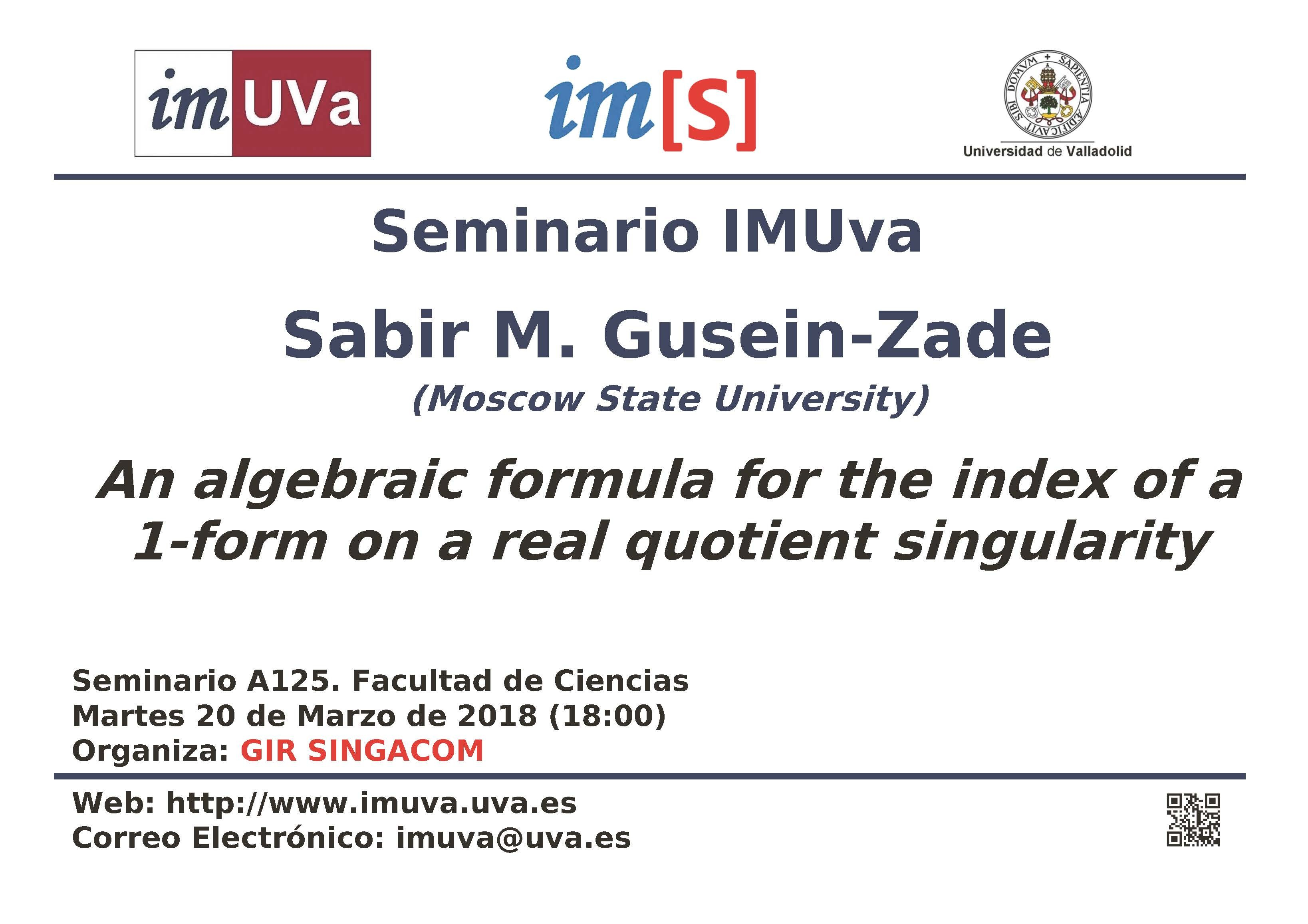 """Seminario IMUVa """"An algebraic formula for the index of a 1 form on a real quotient singularity"""""""
