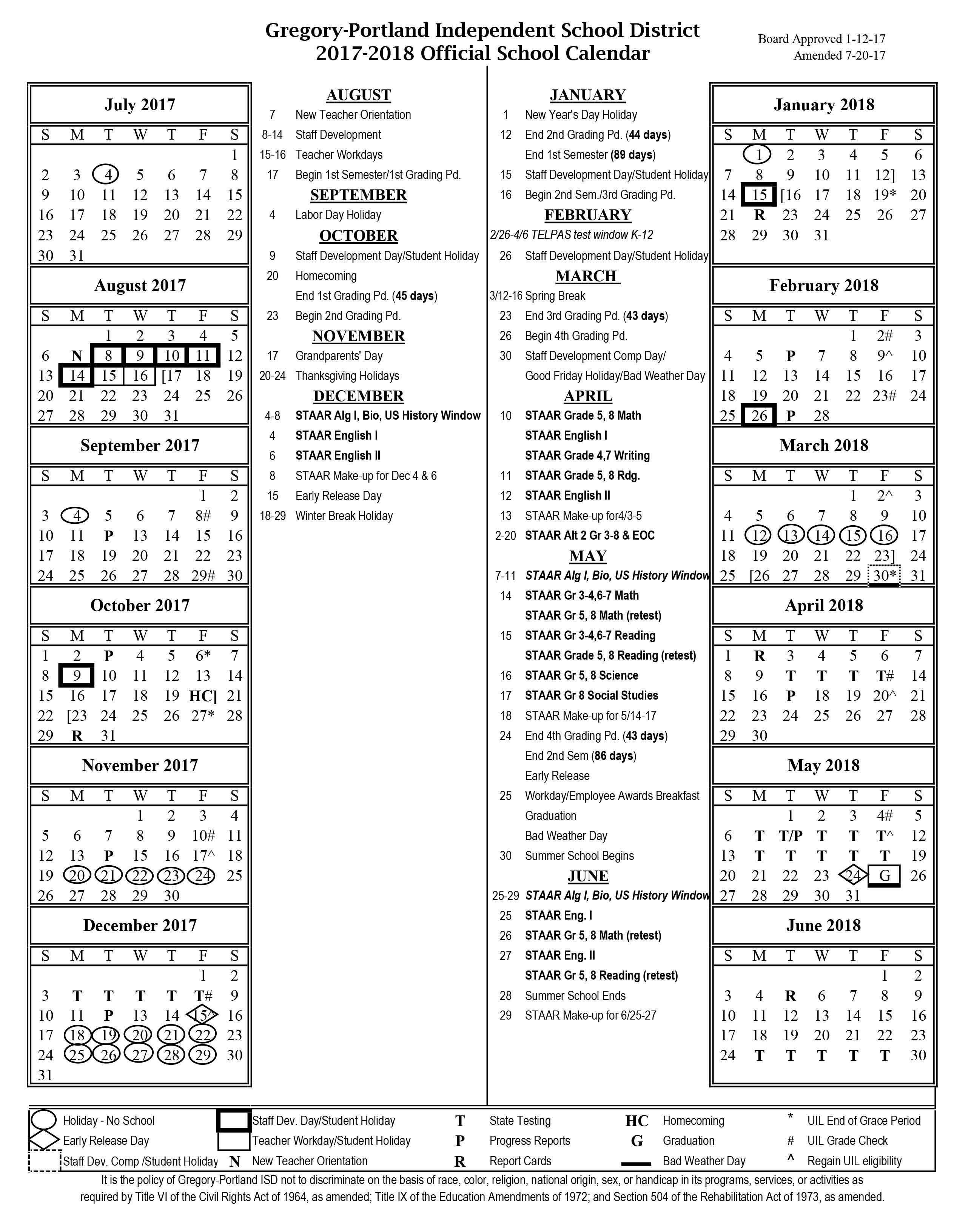 Tier Navigation District Calendar