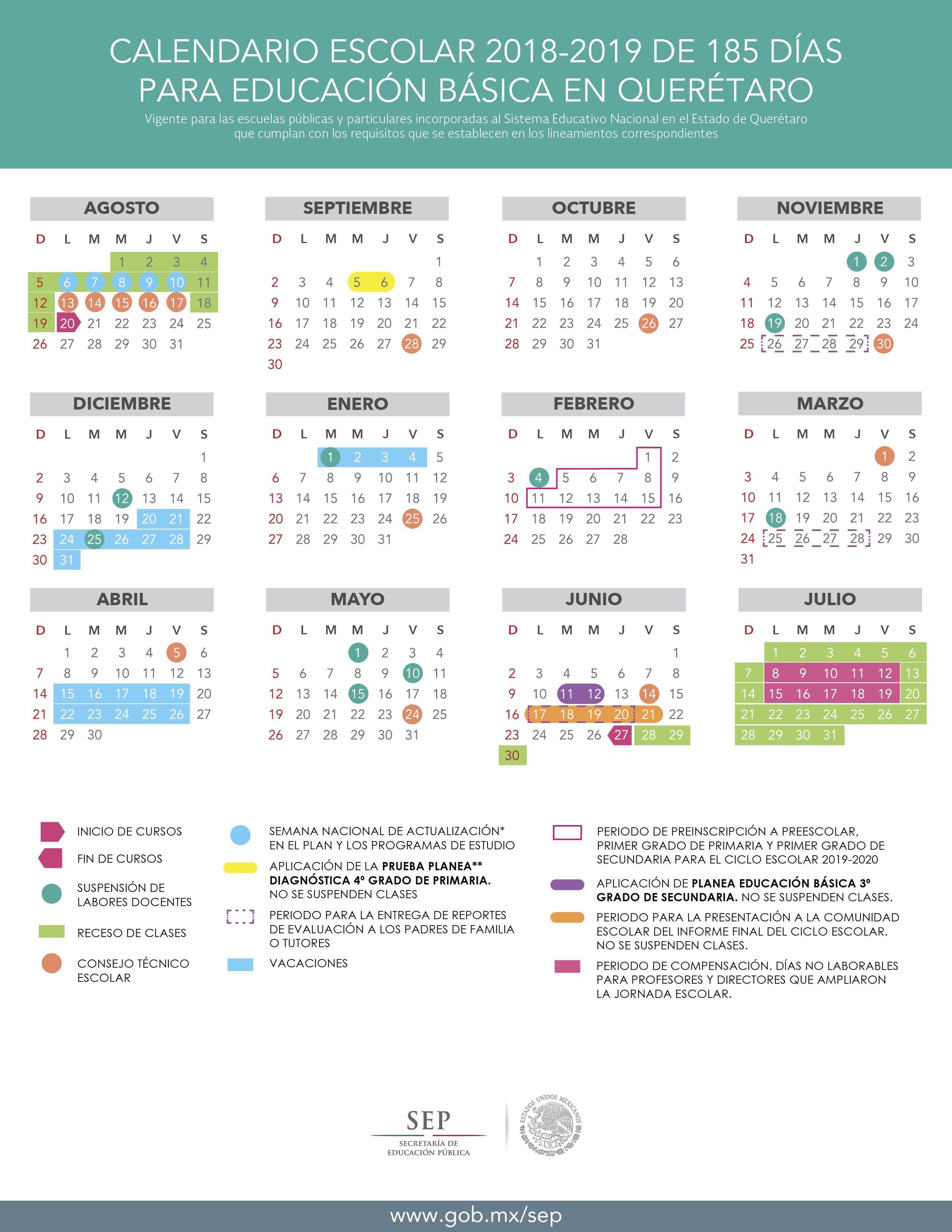 Calendario Escolar 2018 2019 en Educaci³n Básica