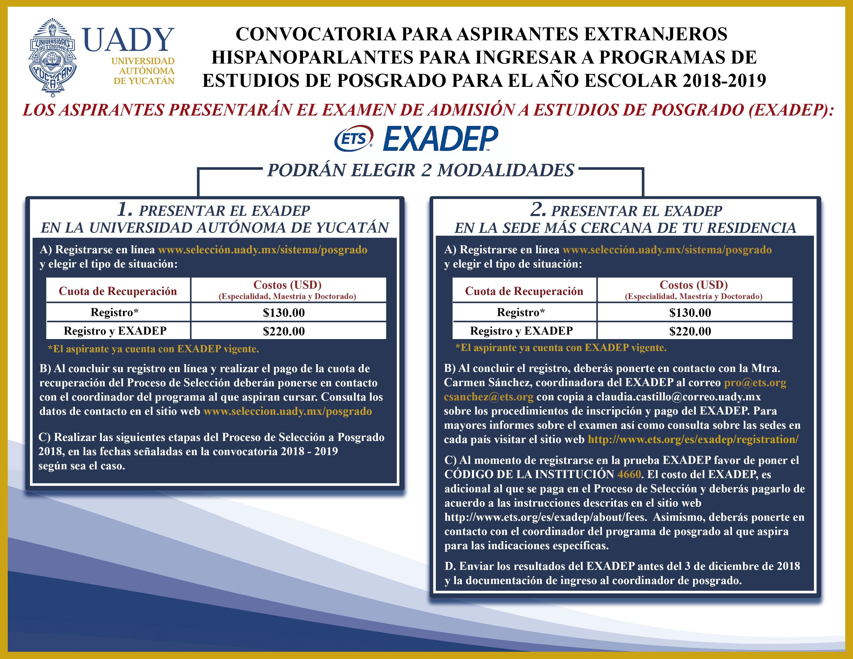 CONVOCATORIA ASPIRANTES EXTRANJEROS EXADEP