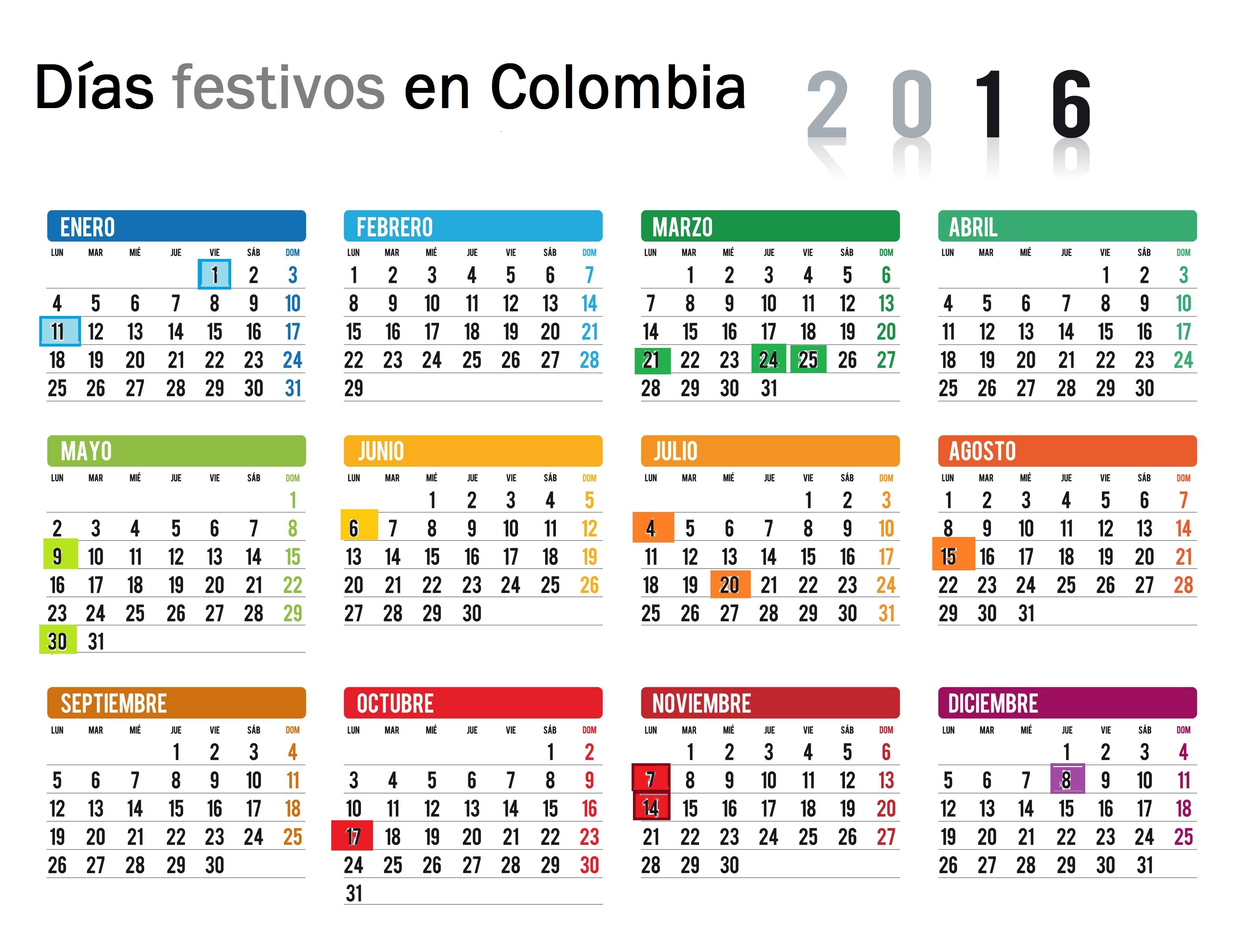 Calendario con festivos colombia 2016 semana santa 2016 for Calendario lunar 2016 colombia