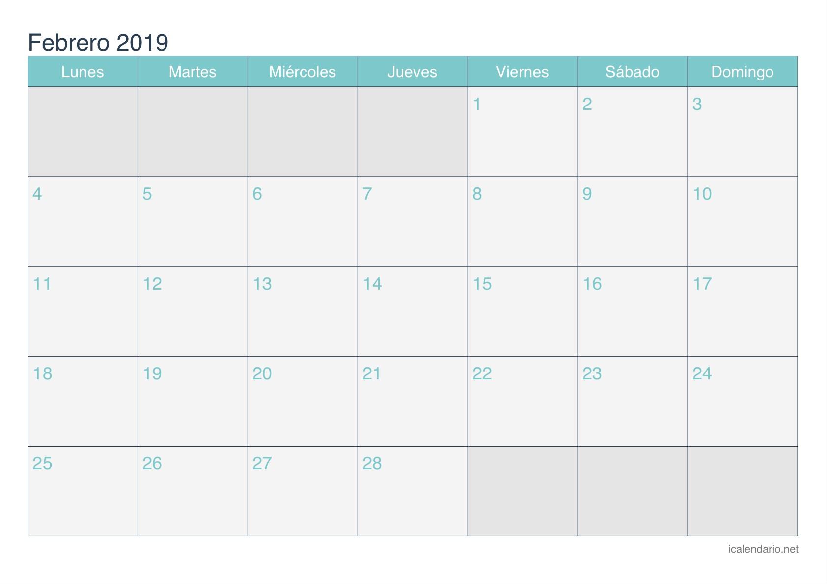 Calendario de febrero 2019 turquesa Calendario de febrero 2019 turquesa