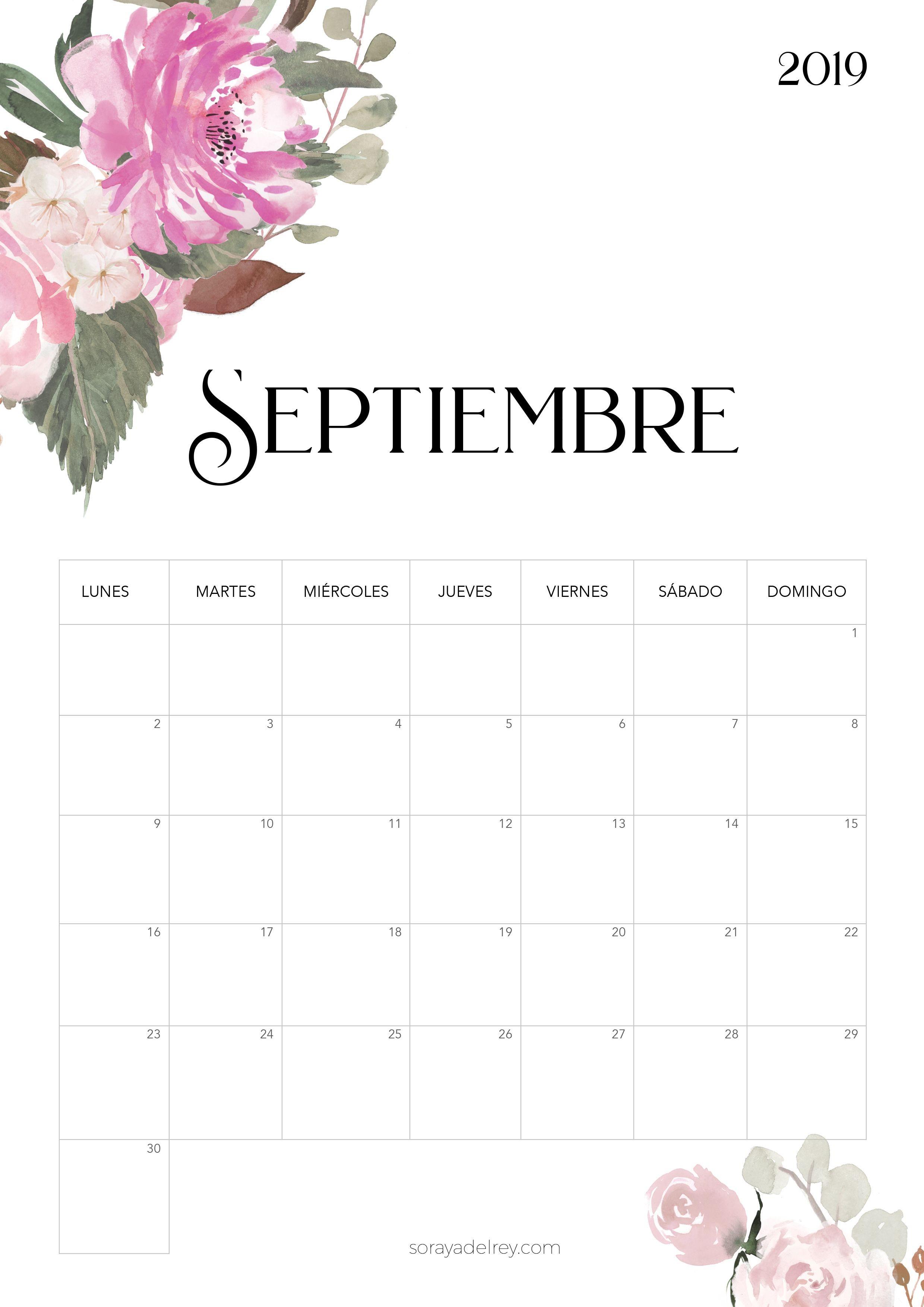 Calendario para imprimir septiembre 2018 freebie calendario calendar septiembre flowers nature papeleria stationary