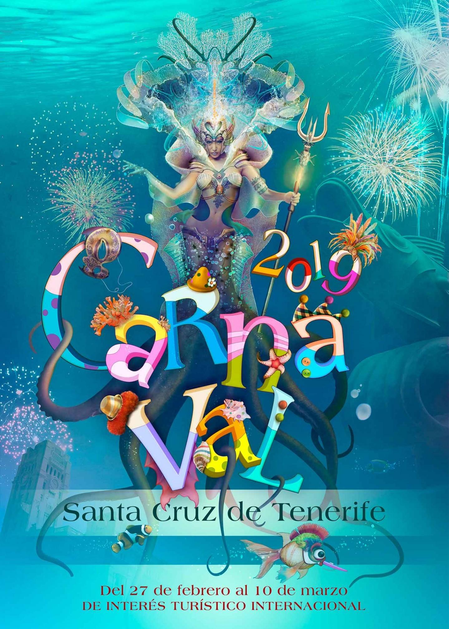 El cartel titulado Encarnaci³n del Carnaval Marino de José Luis Trujillo González anunciará el Carnaval de Santa Cruz de Tenerife 2019