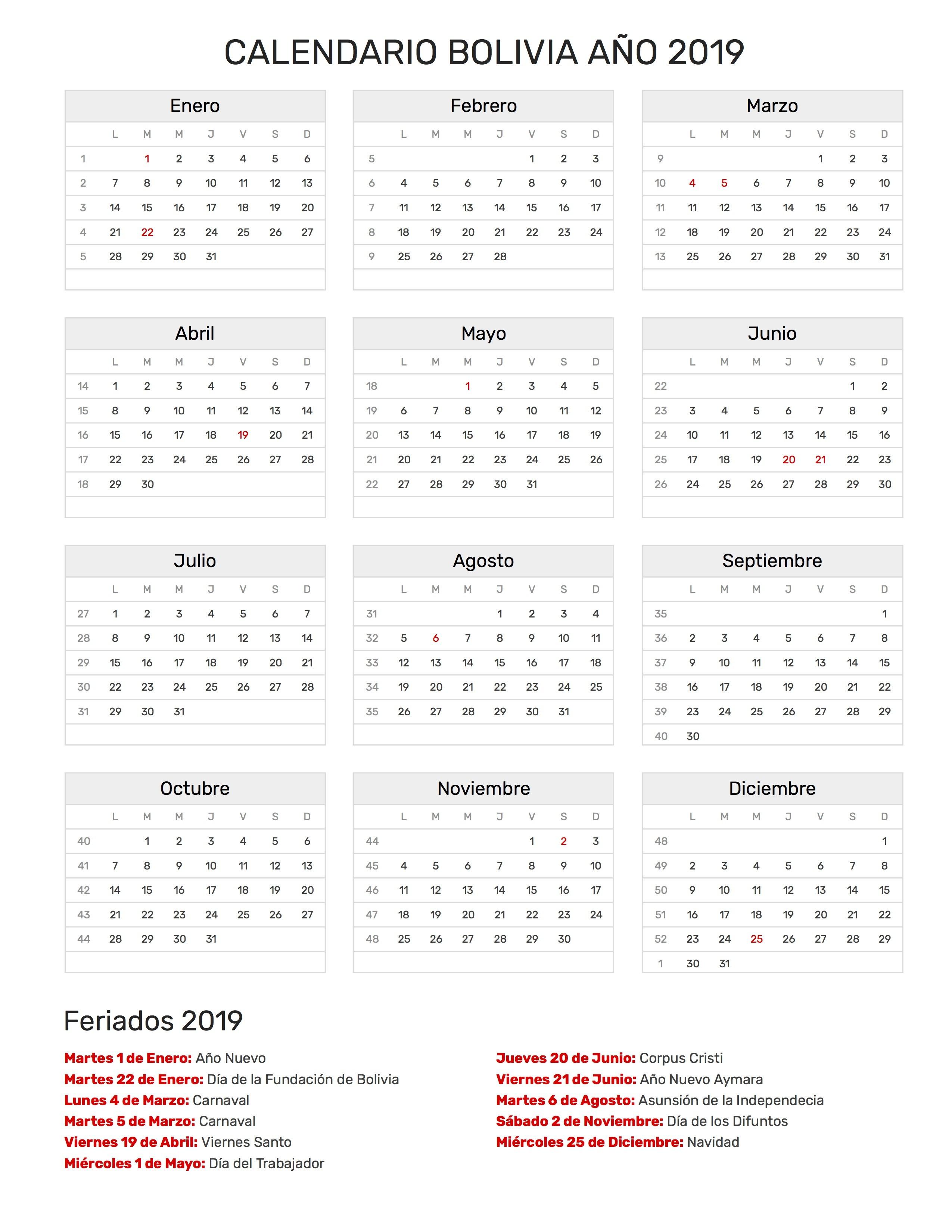 Calendario Fiestas Abril 2019 Más Recientemente Liberado Calendario Bolivia A±o 2019 Of Calendario Fiestas Abril 2019 Más Recientemente Liberado Sport