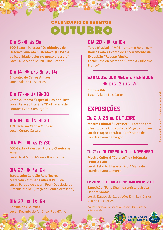 Calendário de eventos 2018