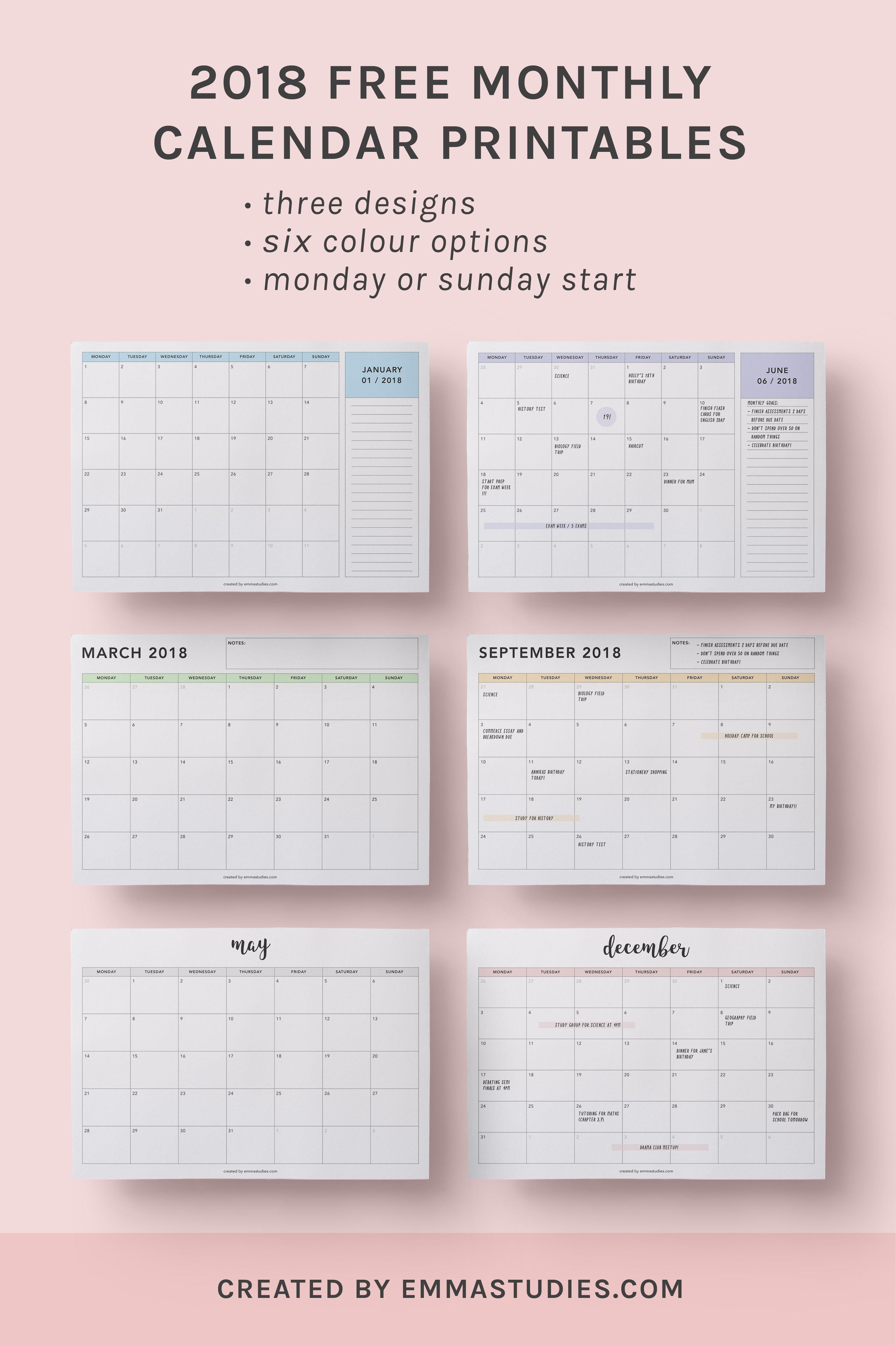 2018 monthly free printable calendars by emmastu s