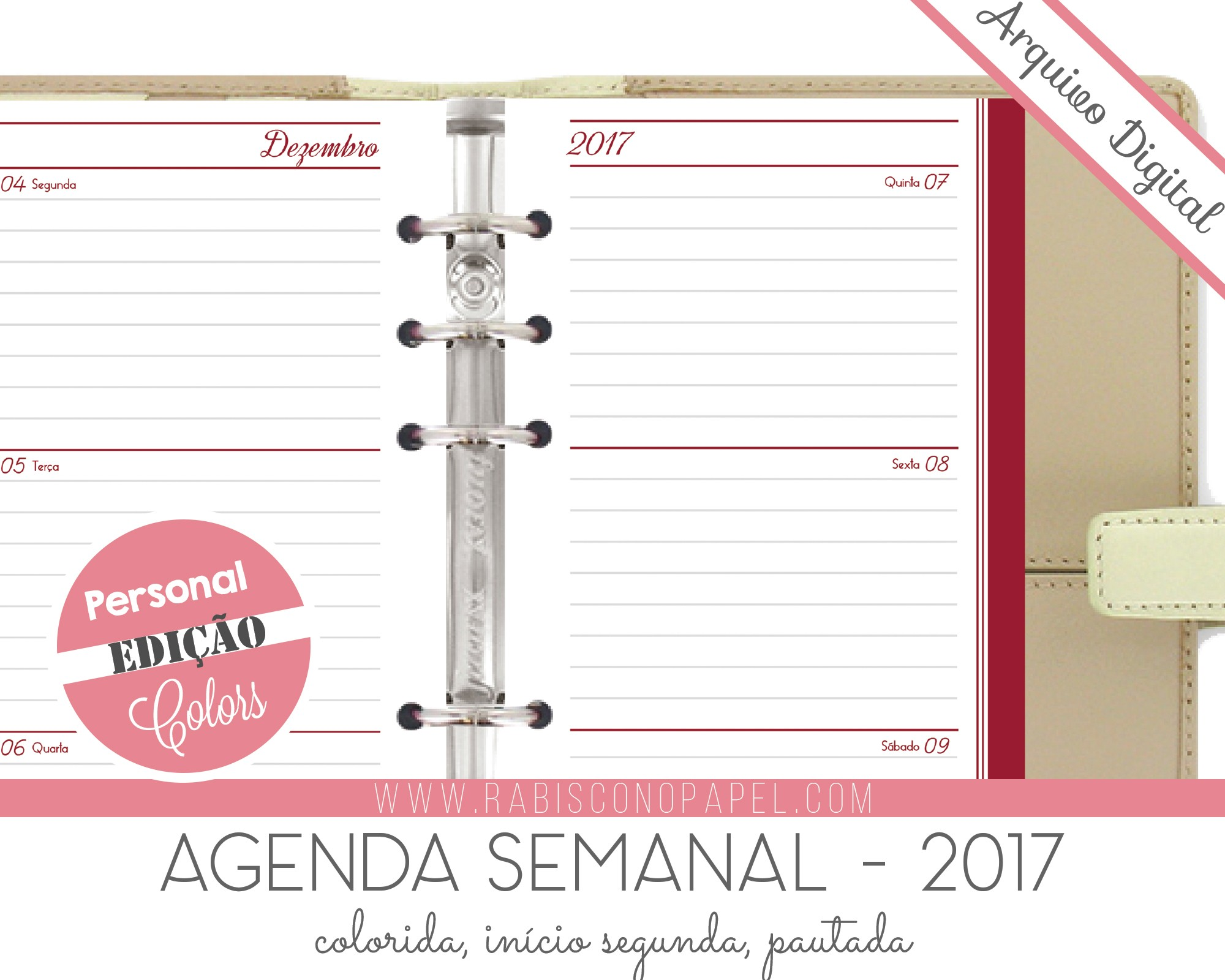 imprimivel agenda semanal 2017 personal pautado