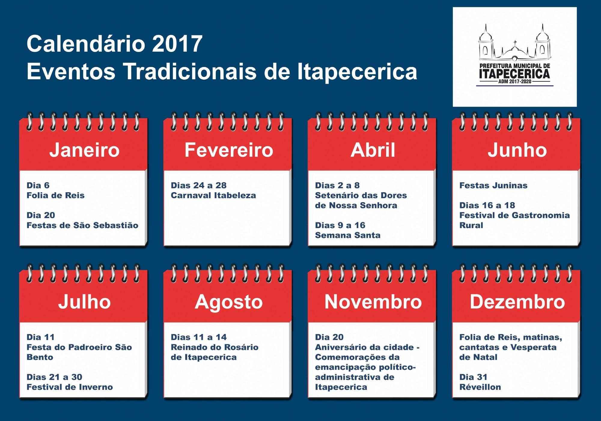 Calendário anual de eventos tradicionais de Itapecerica