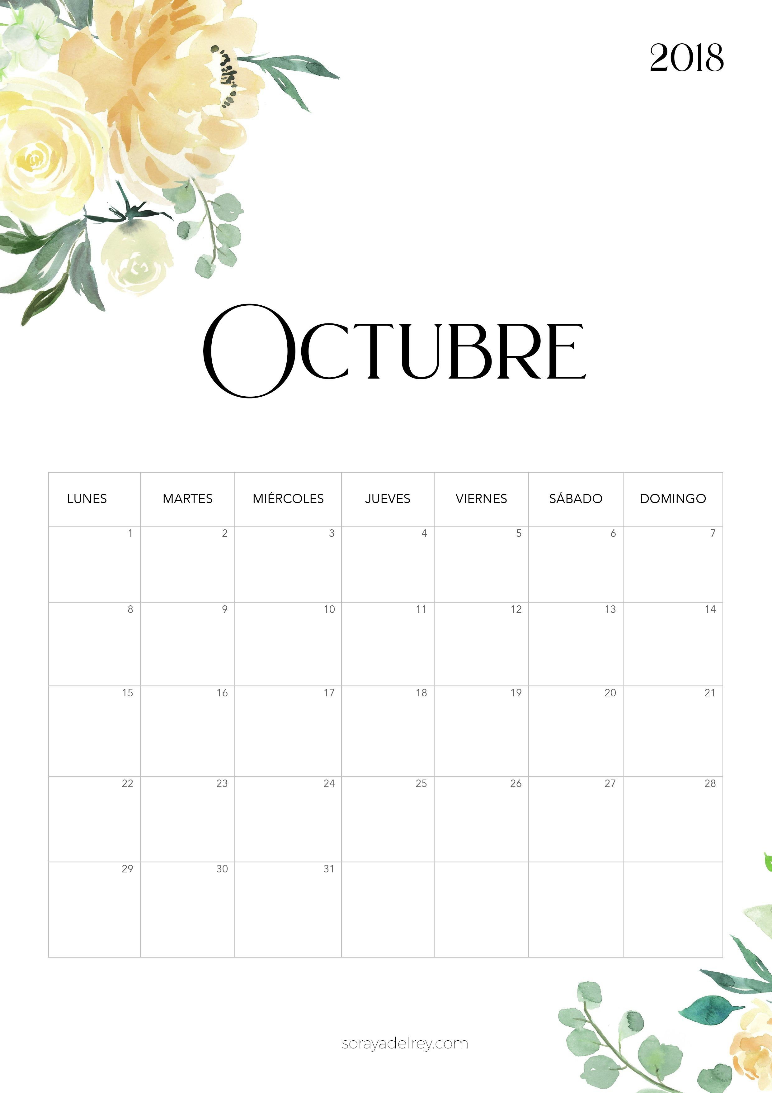 Calendario para imprimir Octubre 2018 calendario calendar octubre october freebie printable imprimir
