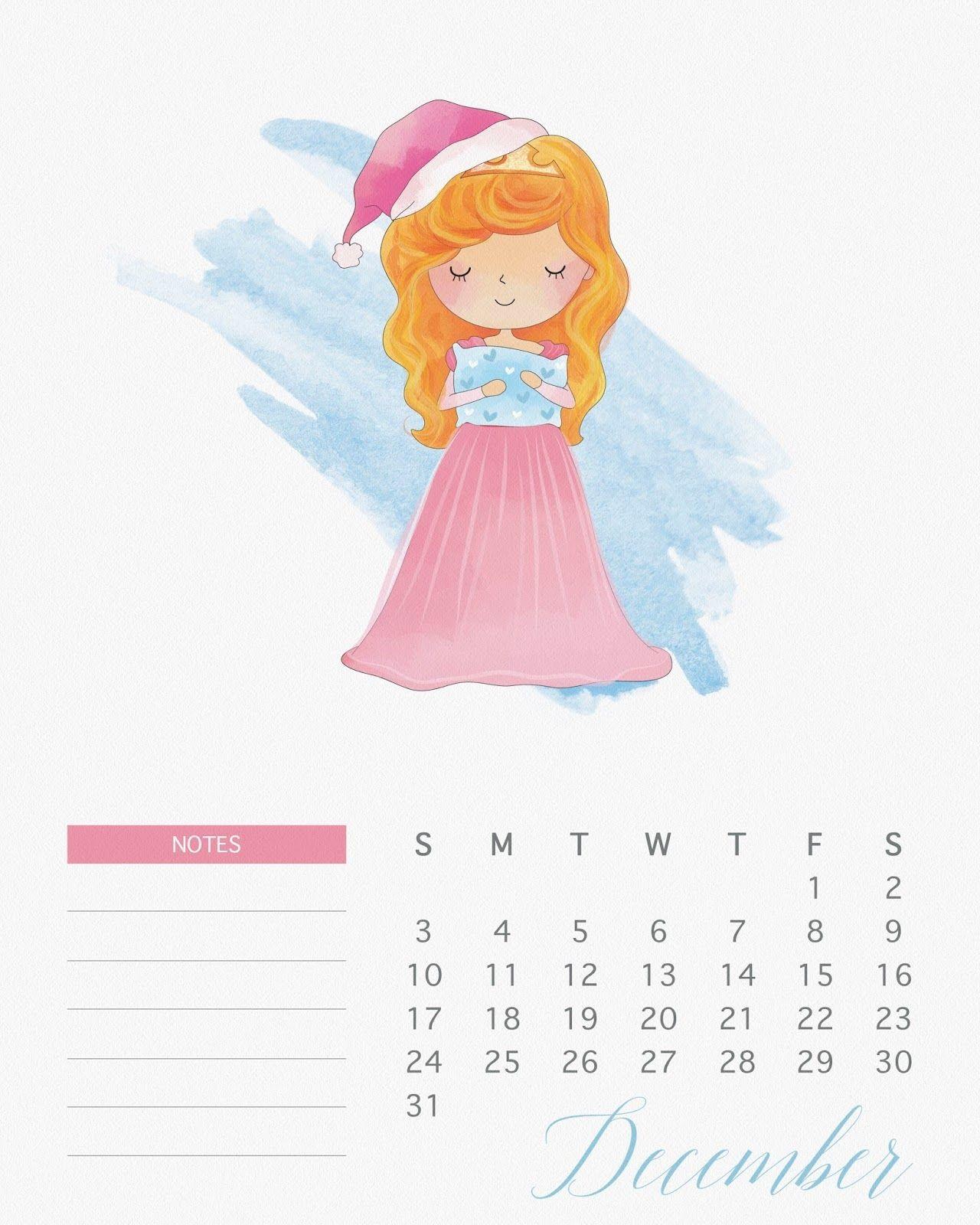 Calendario 2017 de las Princesas Disney para Imprimir Gratis