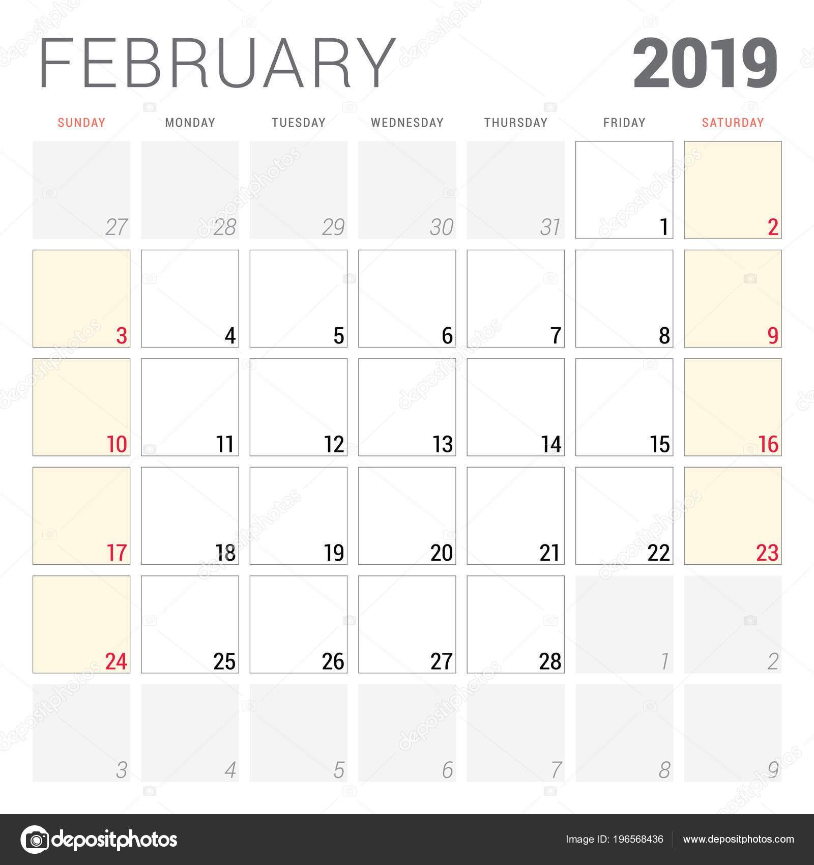 Planejador Calendário Para Fevereiro 2019 Semana e§a Domingo Modelo Design — Vetor de Stock