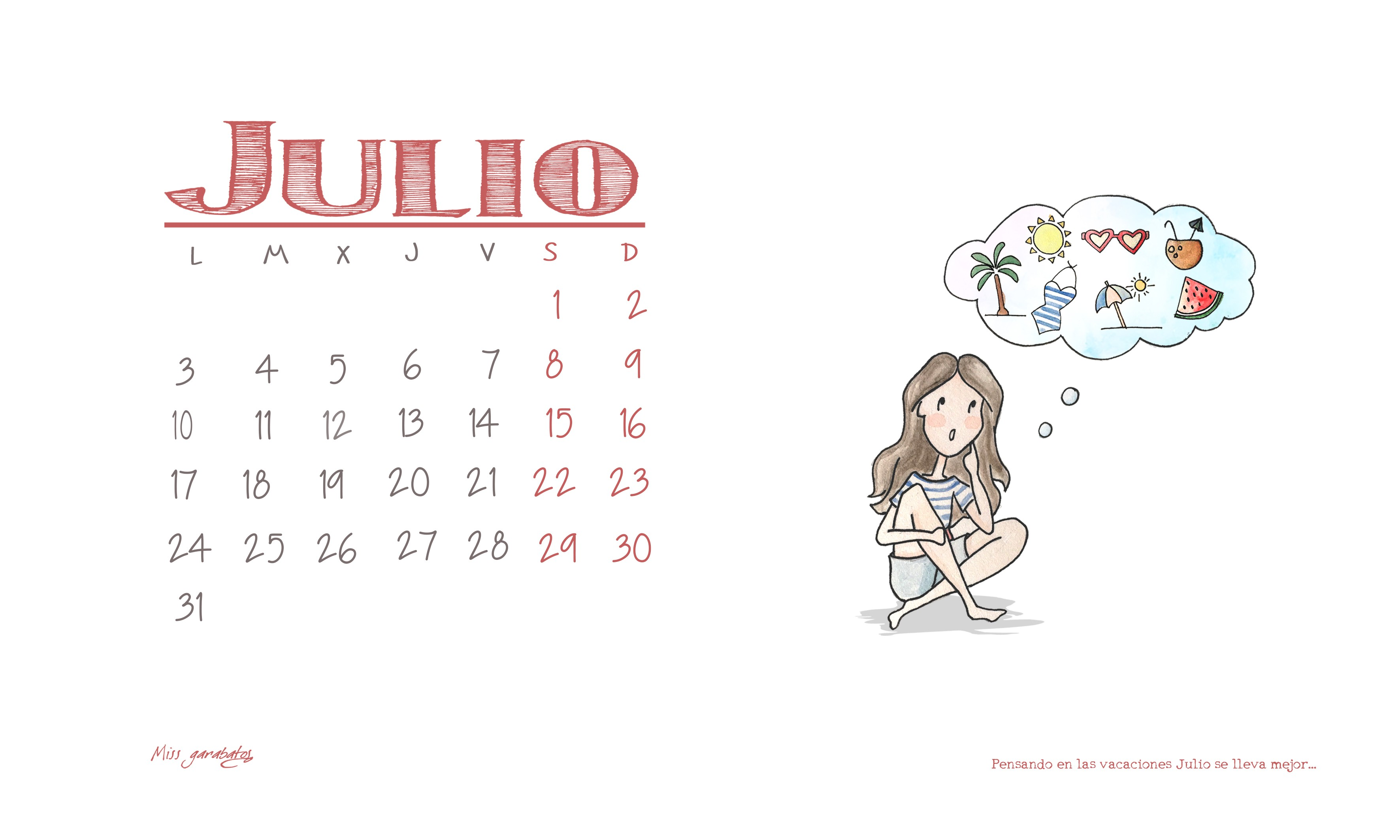 Calendario Imprimir Julio 2017 Más Recientes Calendario De Julio – Miss Garabatos Of Calendario Imprimir Julio 2017 Más Caliente Julio Calendario Para Imprimir