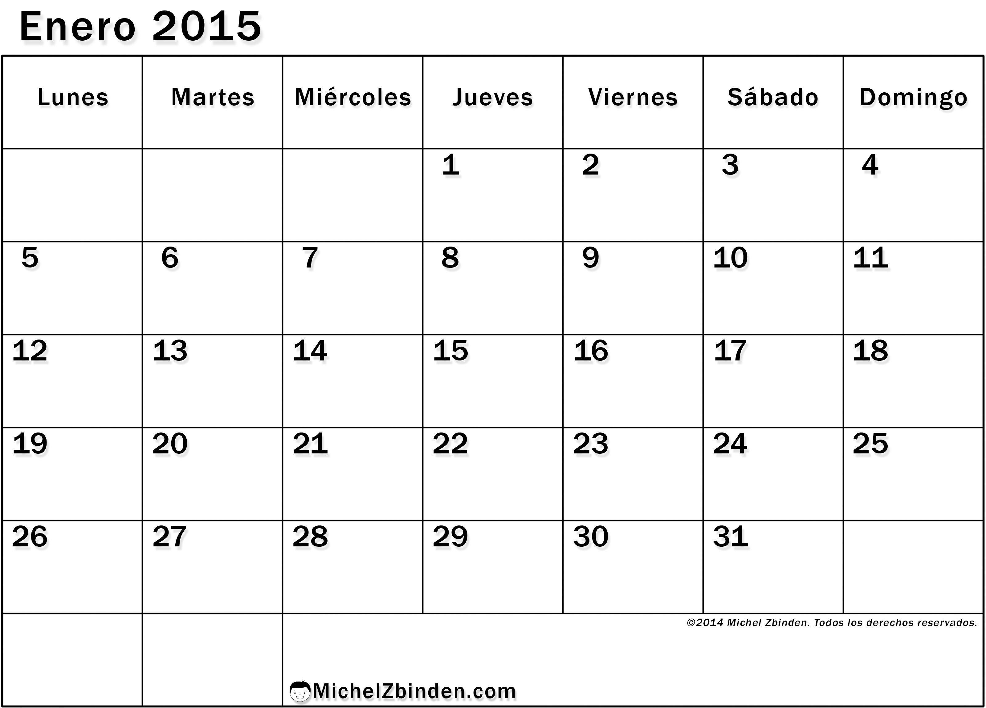 calendario en blanco 2015
