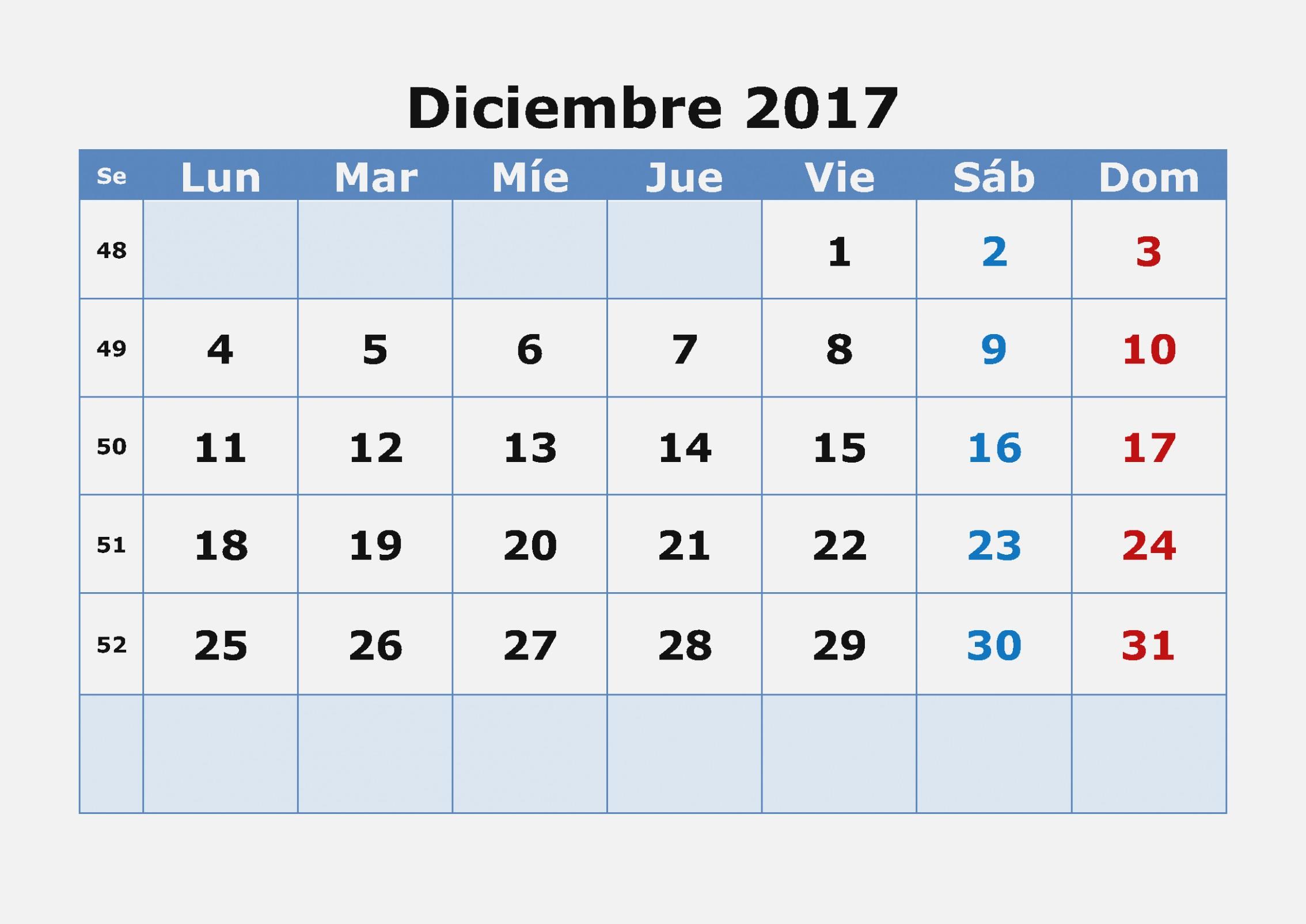 Calendario Diciembre 47 para imprimir