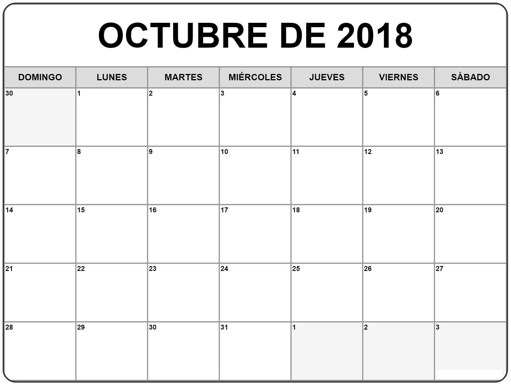 Calendario Imprimir Novembro 2019 Más Caliente Calendario Octubre 2018 Para Imprimir Pdf – Calendario 2018 Of Calendario Imprimir Novembro 2019 Más Actual Custom Editable Free Printable 2019 Calendars