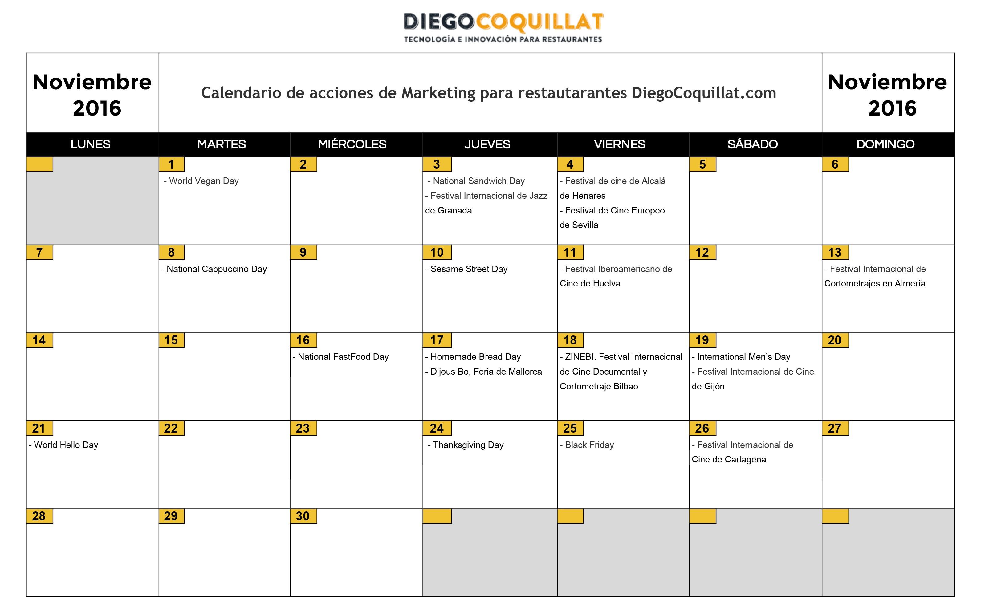 Noviembre 2016 Calendario de acciones de marketing para restaurantes
