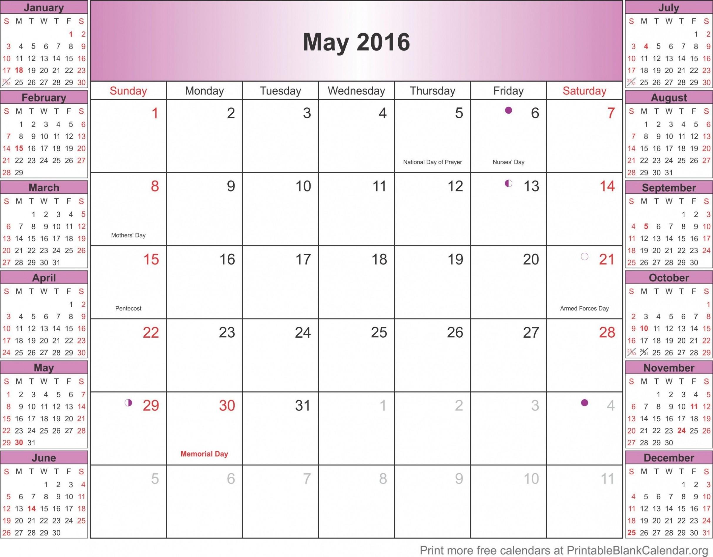 Beautiful May 2016 Printable Calendar Template Printableblankcalendar Calendario Colombia Con Festivos 2017 hd4