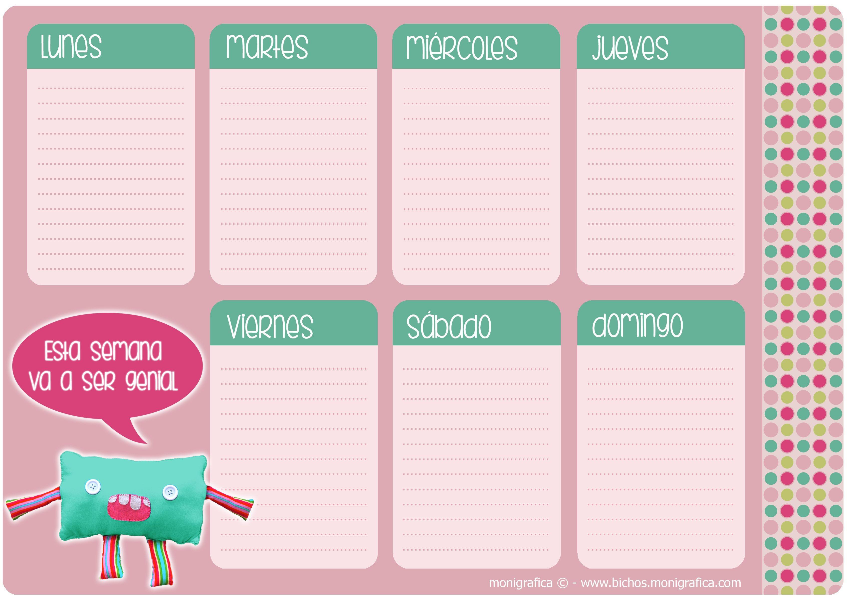 Calendario Semanal Calendario 2016 Agenda Semanal Para Imprimir Organizador Agenda Anotador