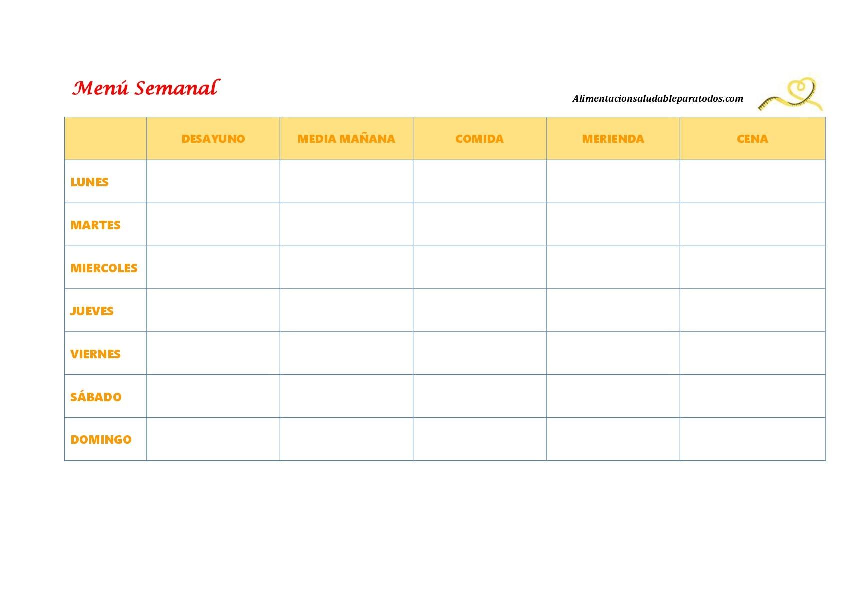 Calendario Imprimir Semanal Más Recientes 7 Plantillas Para Planificar El Menš Semanal Alimentaci³n