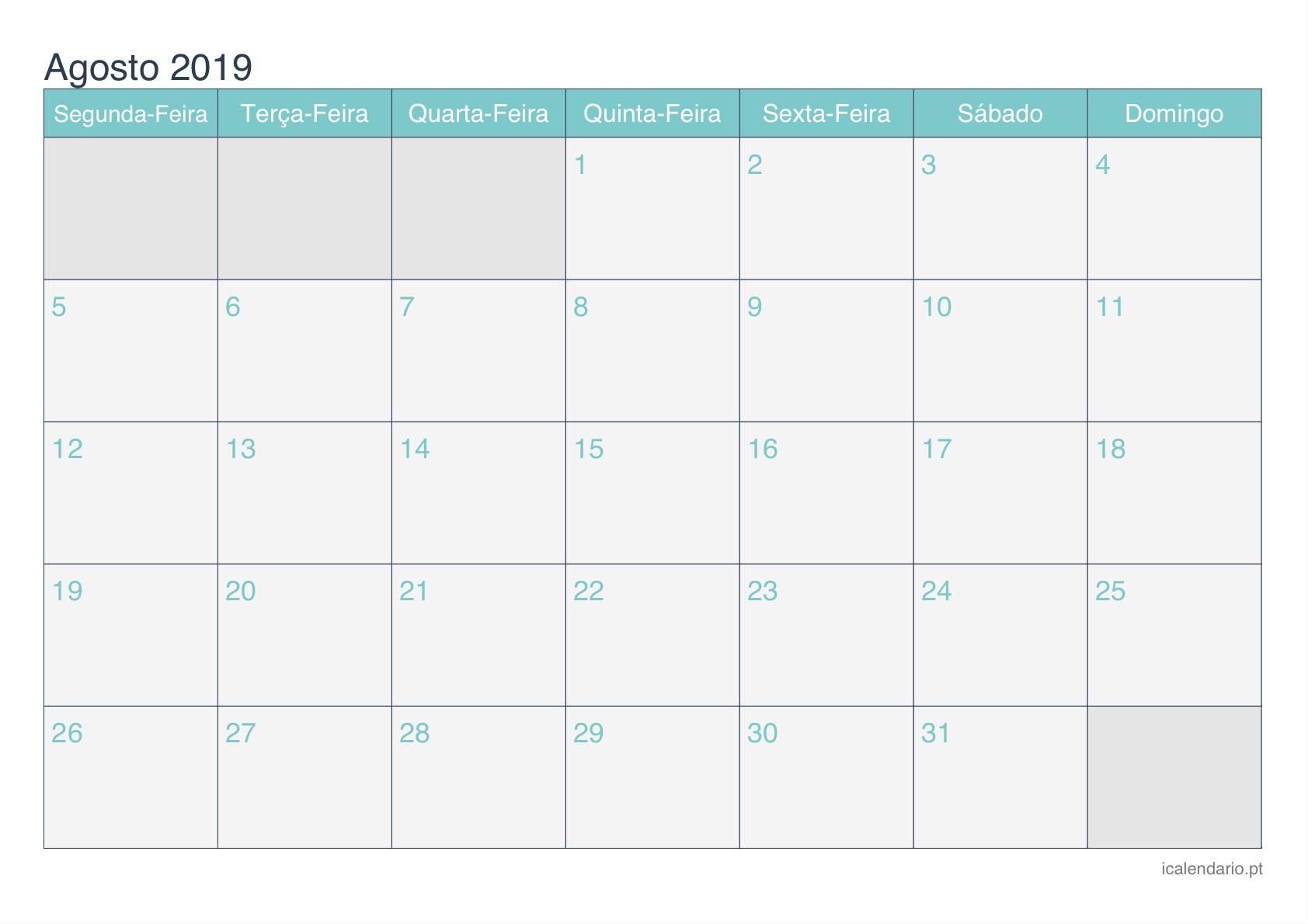 Calendario Imprimir Setembro 2019 Más Arriba-a-fecha Calendário Agosto 2019 Para Imprimir Icalendário