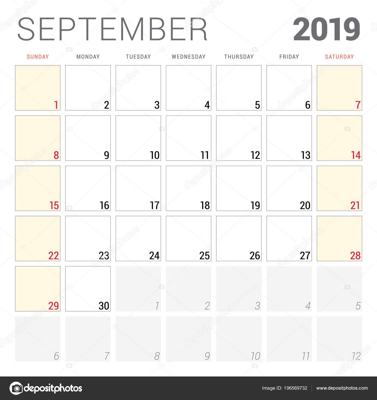 Planificador de calendario para septiembre de 2019 La semana ienza el domingo Plantilla de dise±o de vectores para imprimir papelera — Vector de