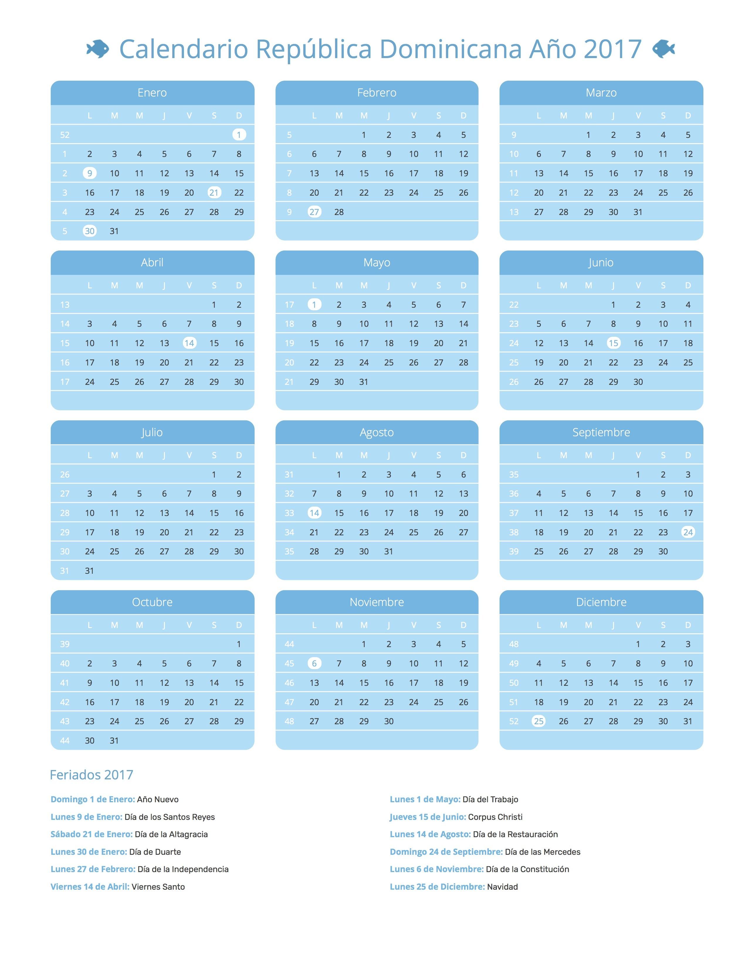 Calendario Republica Dominicana 2017