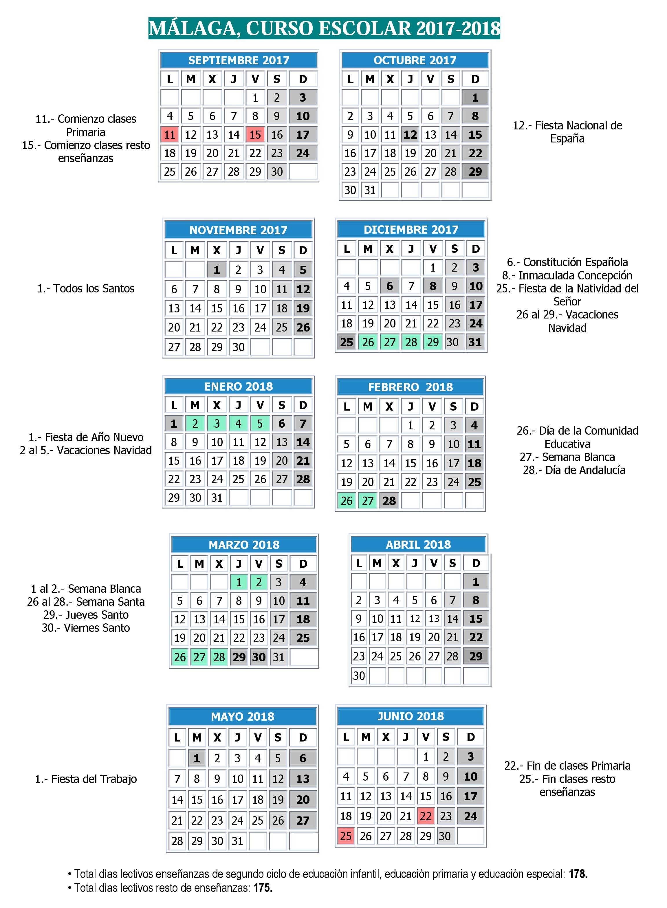 calendario escolar Málaga 2017 2018 Pincha para ampliar