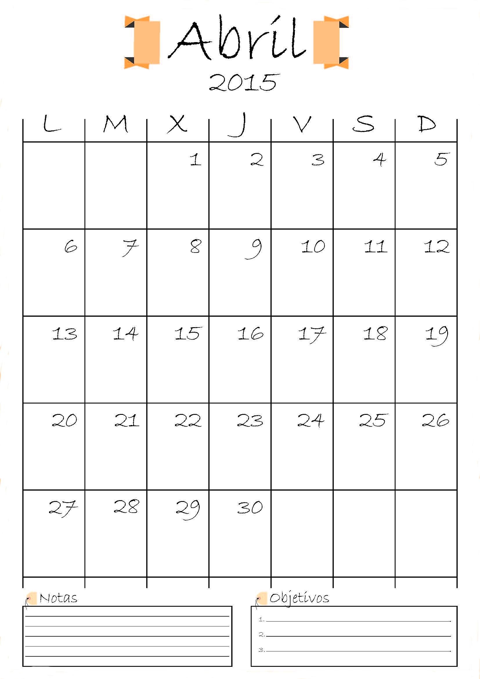 calendario en blanco 2015 Tomburorddiner