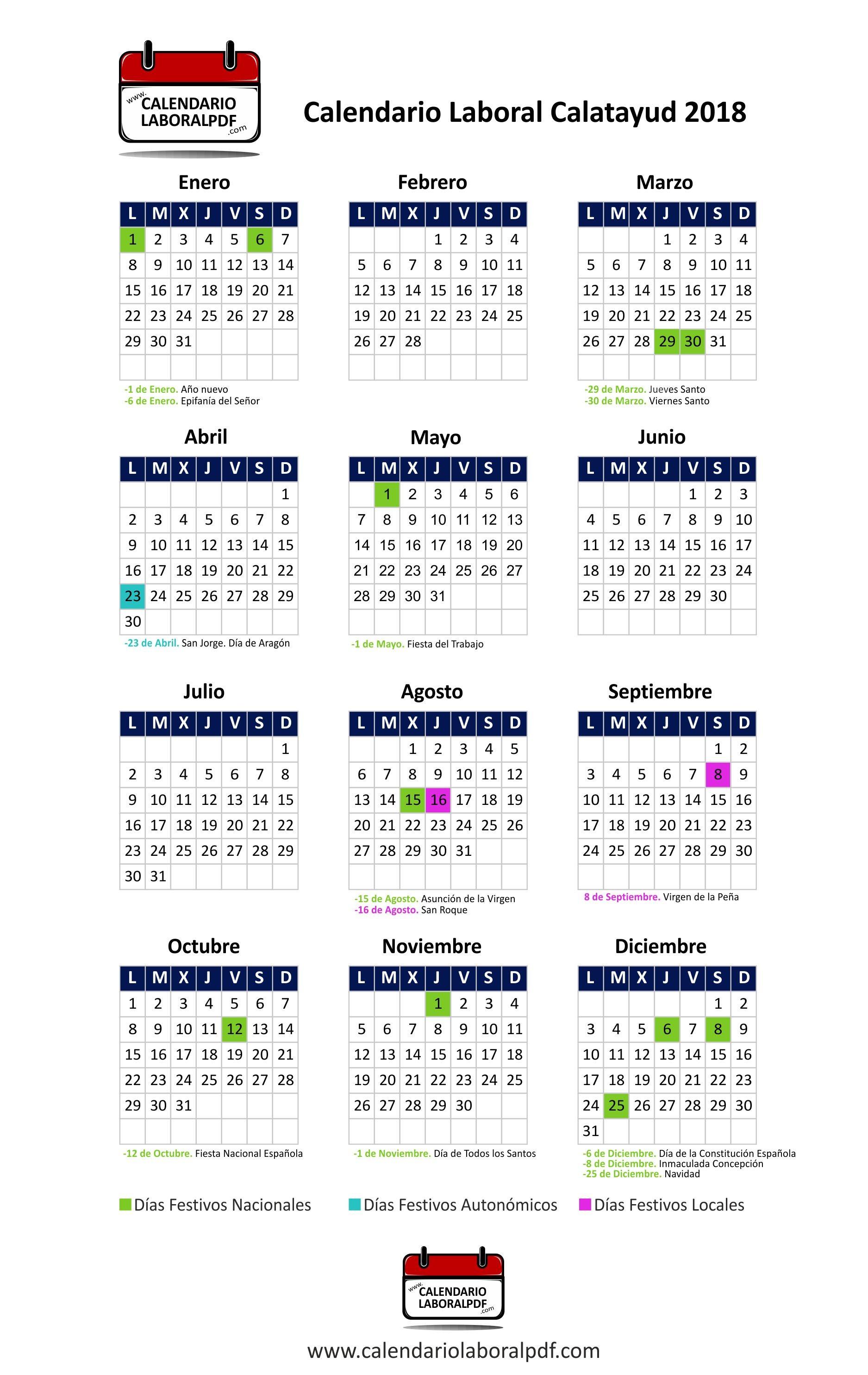 Descarga el Calendario Laboral 2018 de Calatayud en formato pinchando en el siguiente enlace