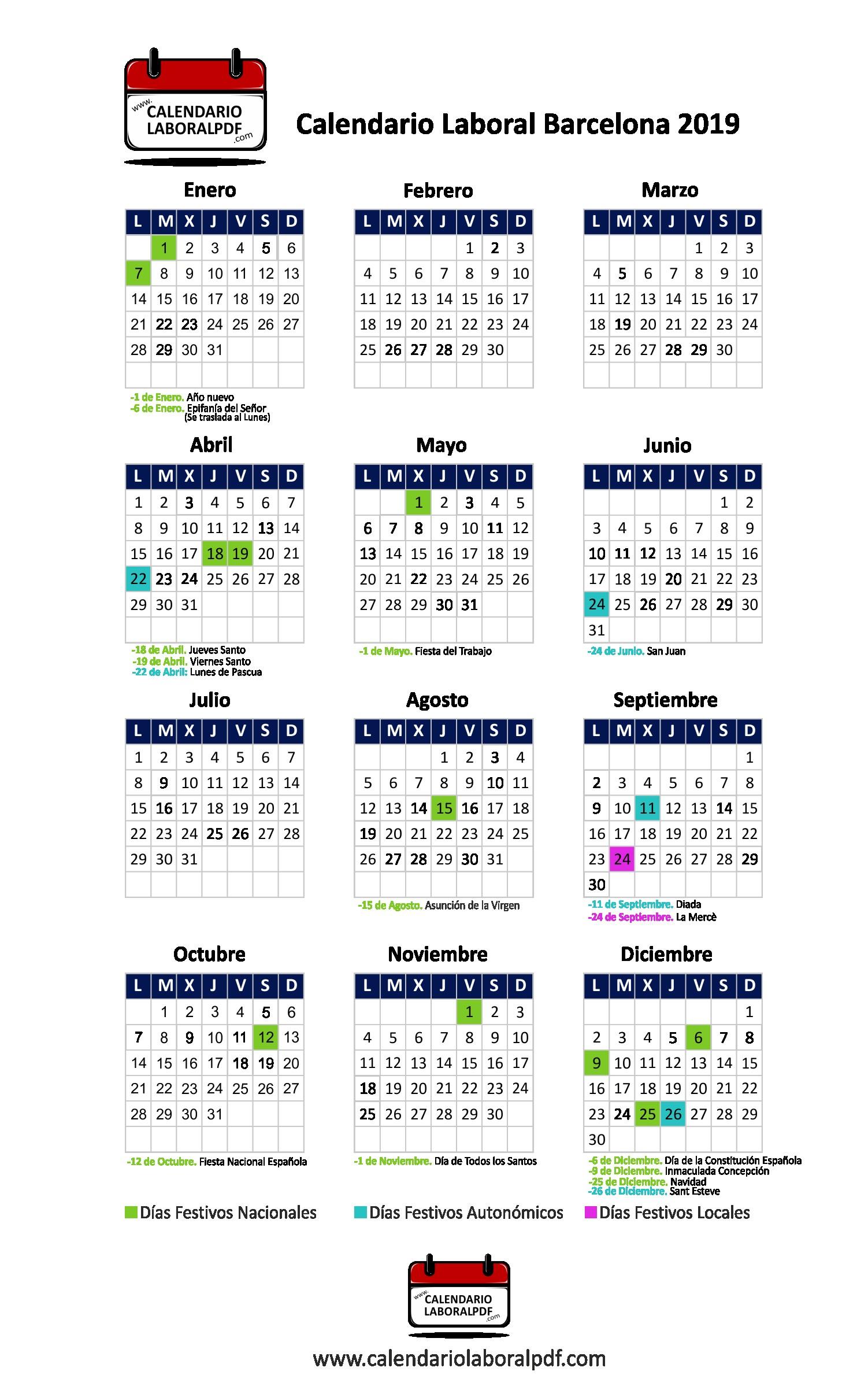 Calendario Laboral 2019 Barcelona Ciudad Mejores Y Más Novedosos Calendario Laboral Barcelona 2019 ▷ ¡descárgalo Gratis