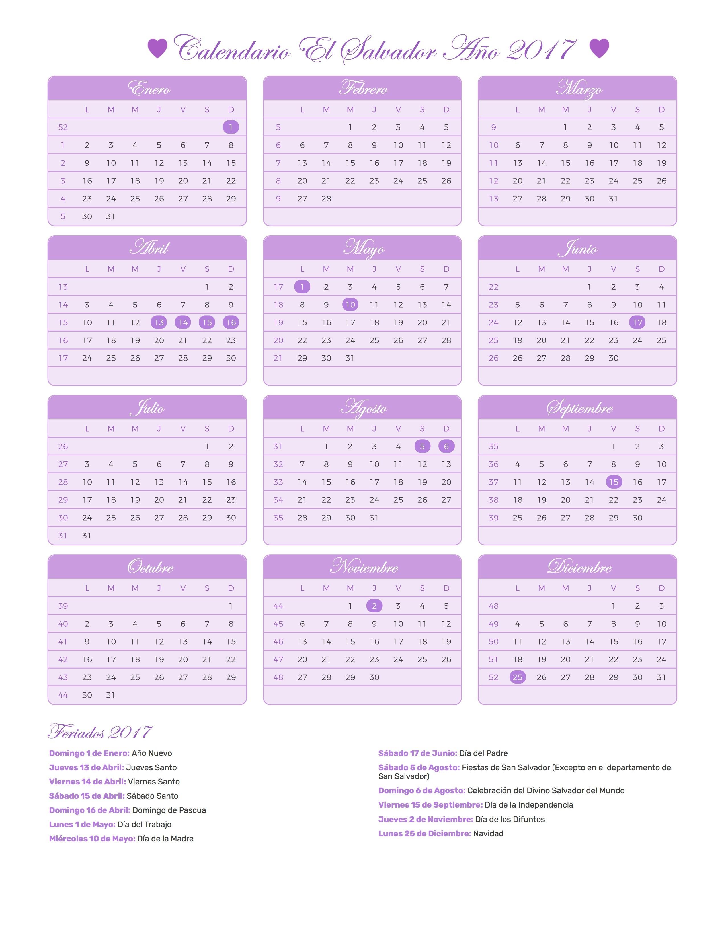Calendario para Imprimir de El Salvador con das festivos