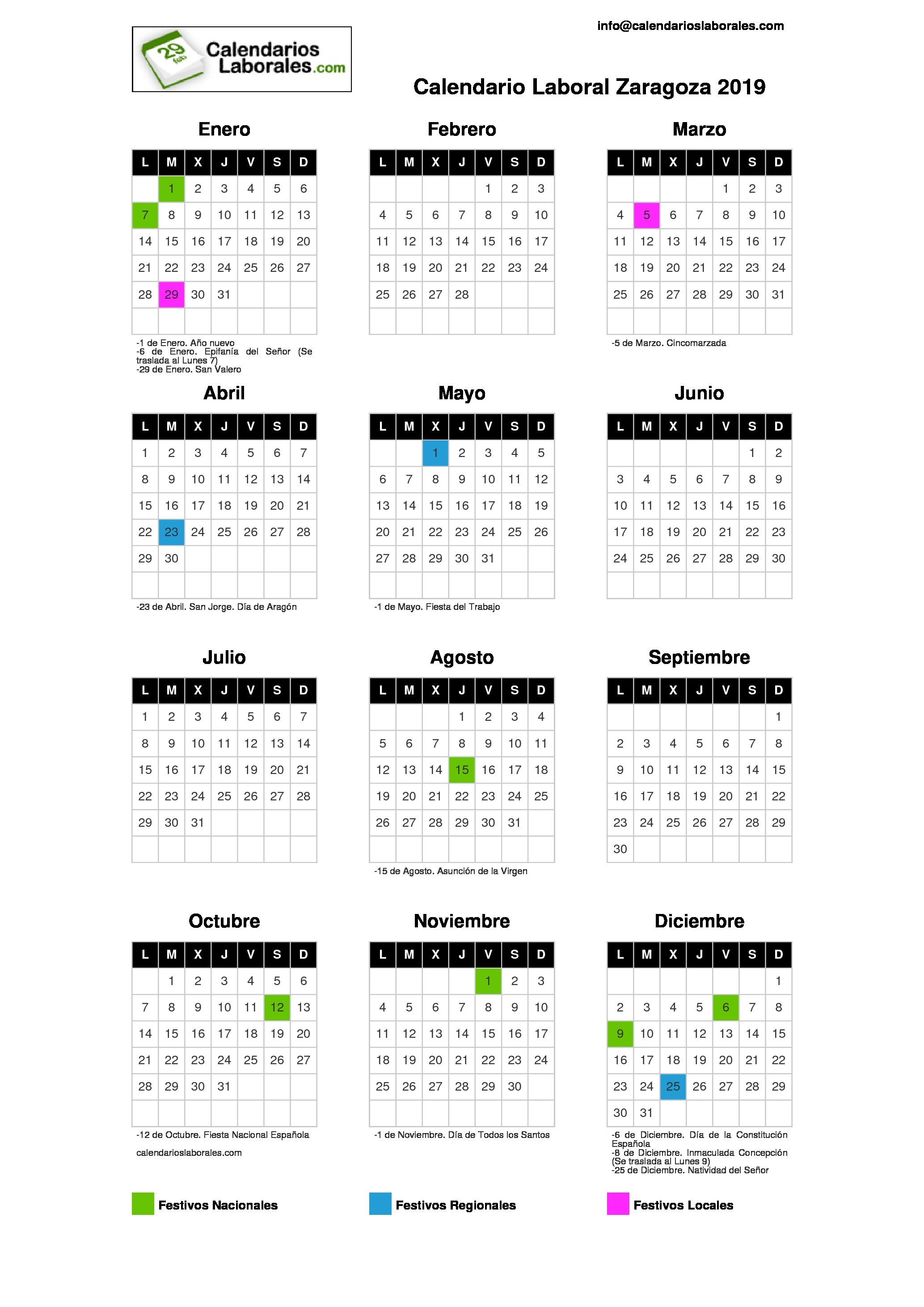 Calendario Laboral En Aragon 2019 Actual Calendario Laboral Zaragoza 2019 Of Calendario Laboral En Aragon 2019 Más Reciente El Calendario Laboral De 2019 – Sala Cola – Abogados Y asesores