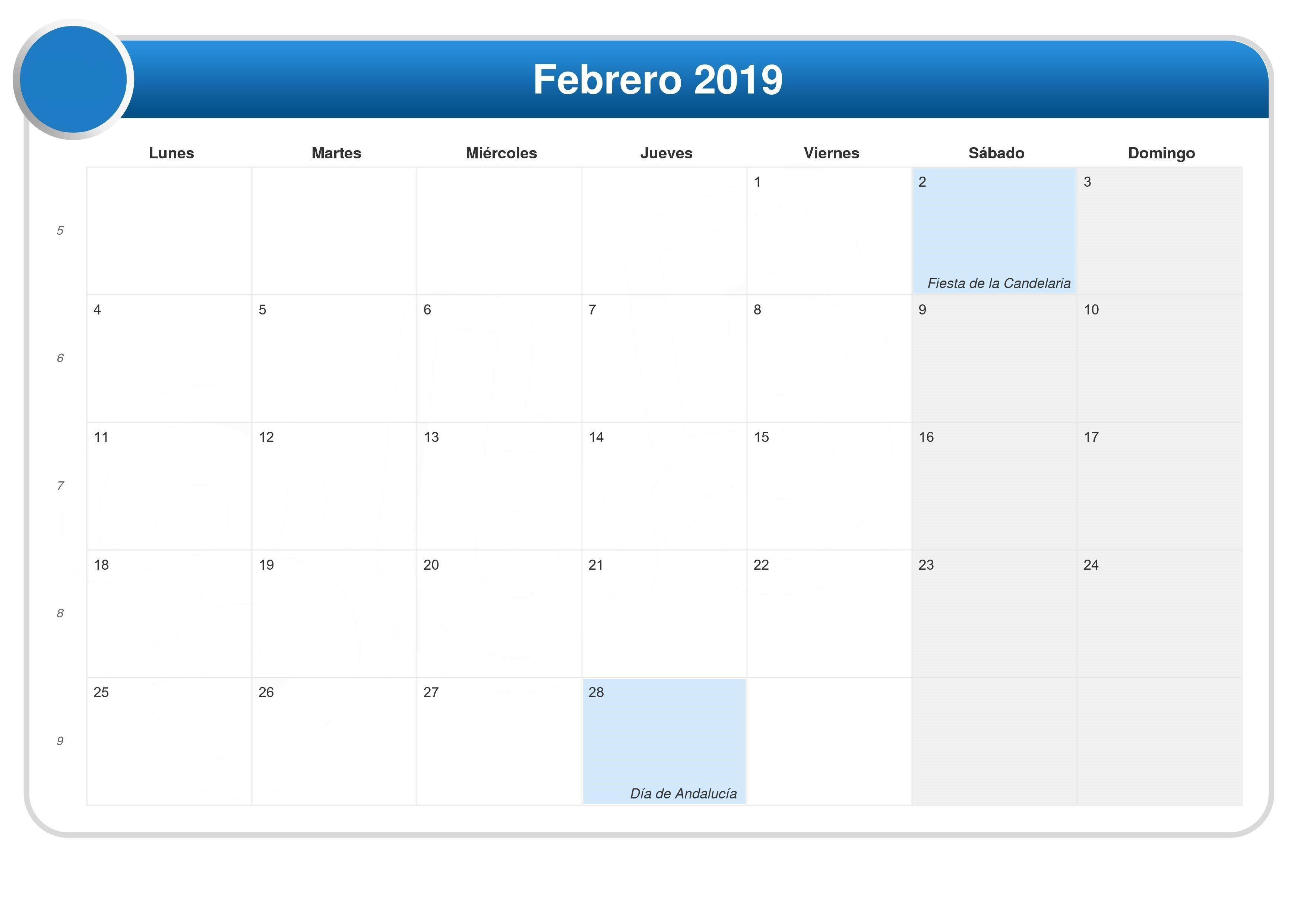▷ 📆 Calendario Febrero 2019 Calendario 2019