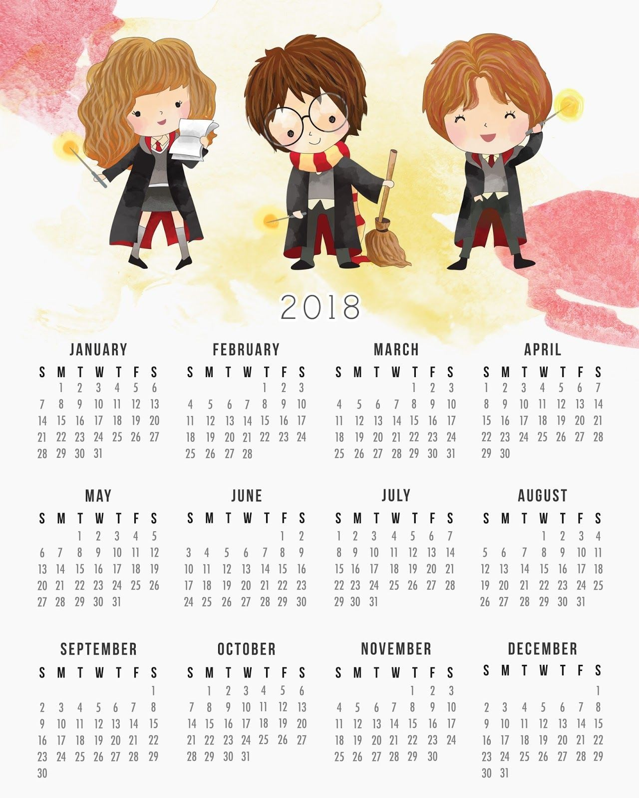 Harry Potter Calendario 2018 para Imprimir Gratis
