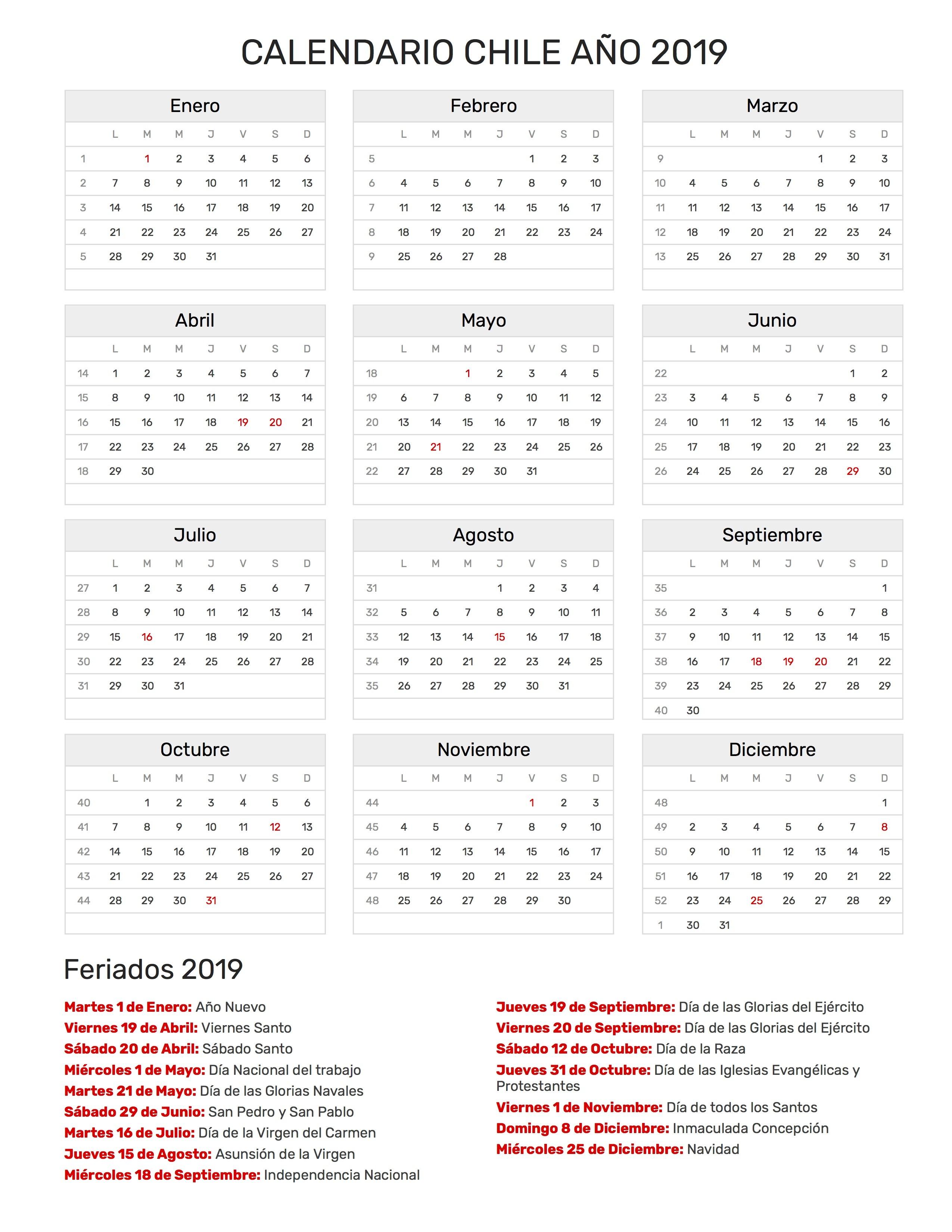 calendario para imprimir de chile con feriados 2019