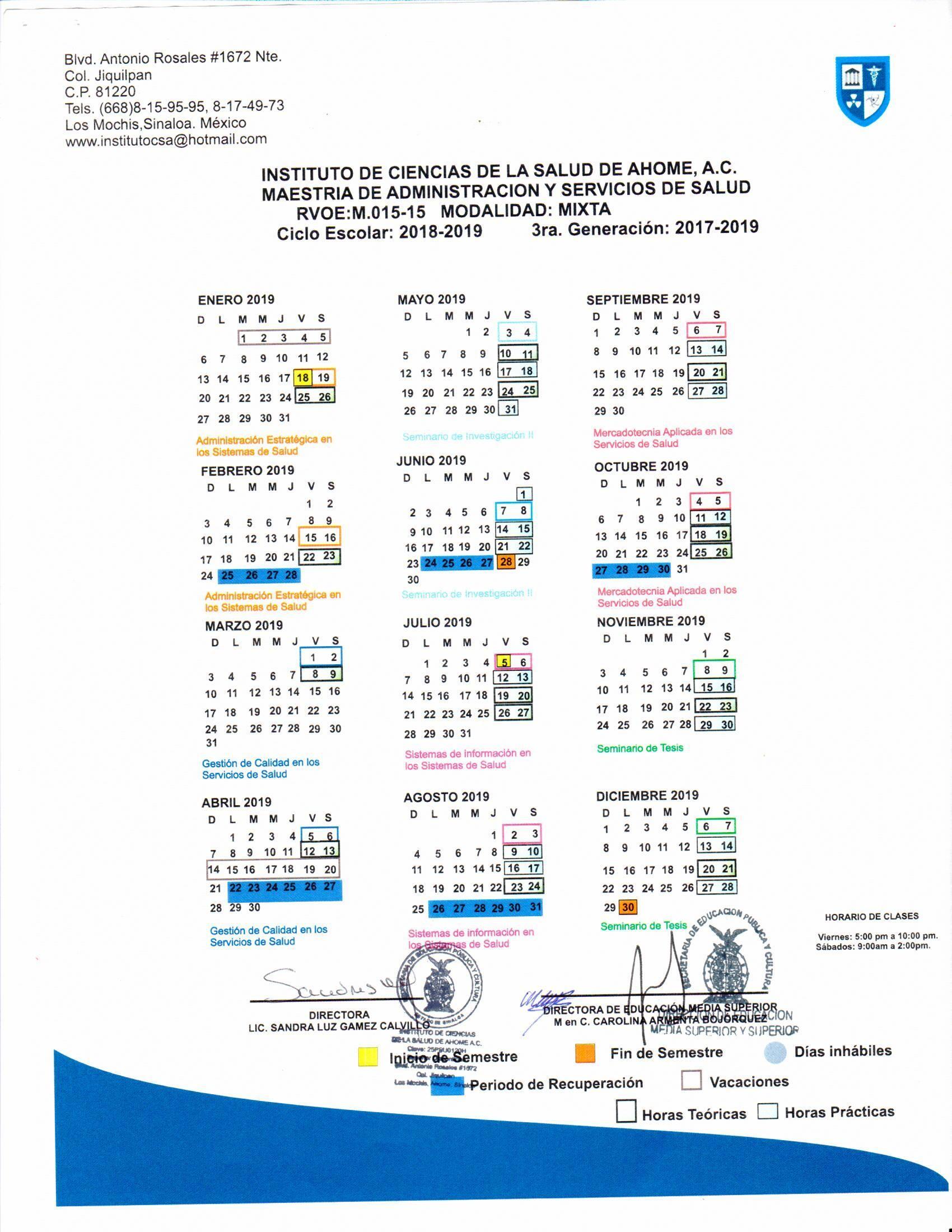 Generaci³n 2017 2019 Calendario Semestre 1 y 2 Calendario
